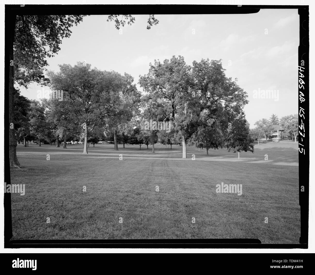 PARADE GROUND, FROM SOUTHWEST CORNER, LOOKING NORTHEAST, BUILDING -330 AT RIGHT - Fort Leavenworth, Metropolitan Avenue and Seventh Street, Leavenworth, Leavenworth County, KS; Newton, Barry, project manager; Glass, James A, project manager; Marko, Eric S, delineator; Zabilka, Eric J, delineator; Broeckelmann, Kurt M, delineator; Rosebrough, Kristin M, delineator; Fernandez, Jose L, delineator; Capstack, Scott E, delineator; Raymond, James A, C, delineator; Schwenk, Sarah, historian; Wolfenbarger, Deon, historian; Whye, Mike, photographer; Cerniglia, Alice, historian; Walton, Wendy, historian; Stock Photo