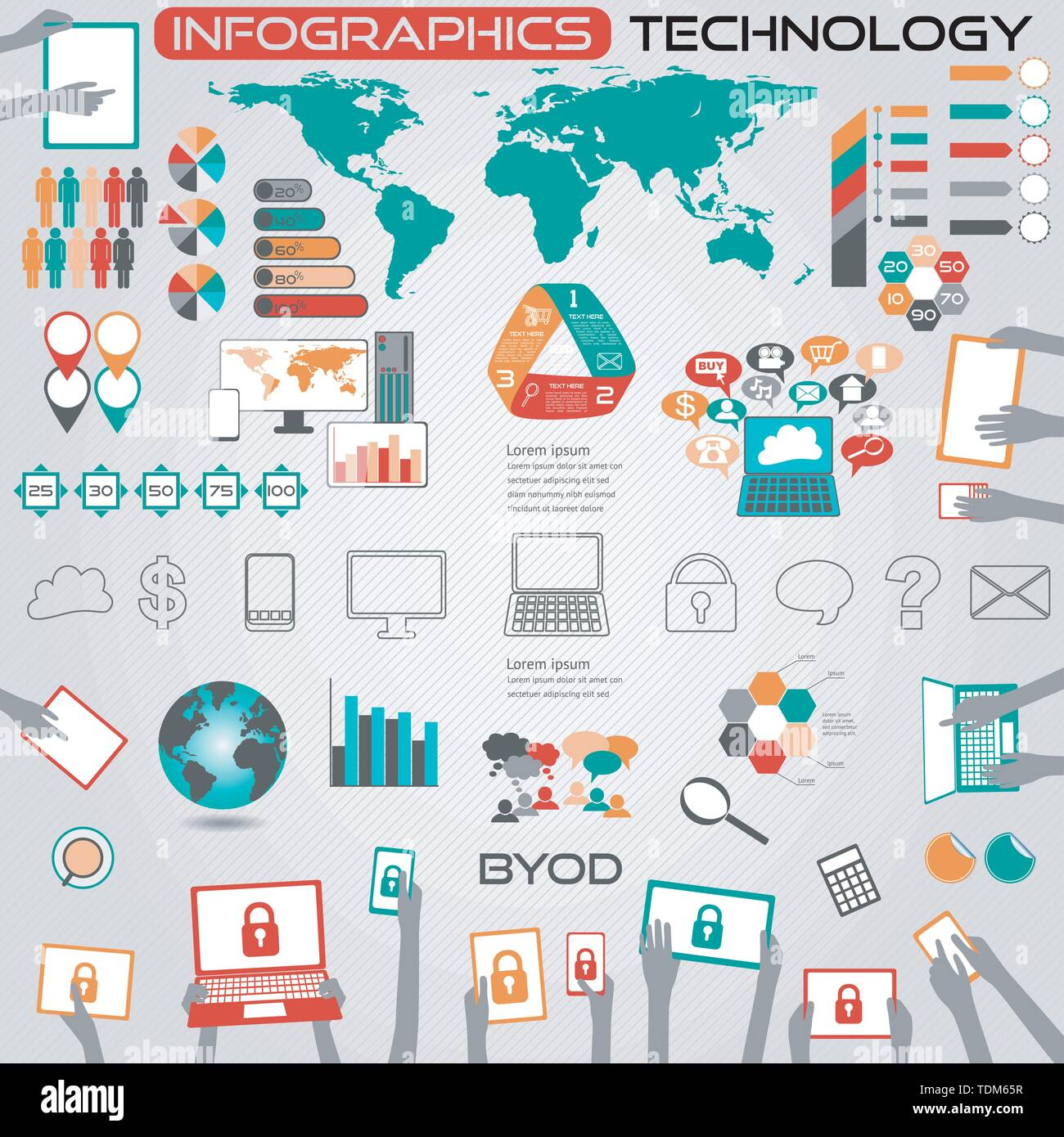 Infographics Computer Technology and BYOD All objects grouped separately and easy to edit EPS10 source map ref NASA - Stock Image
