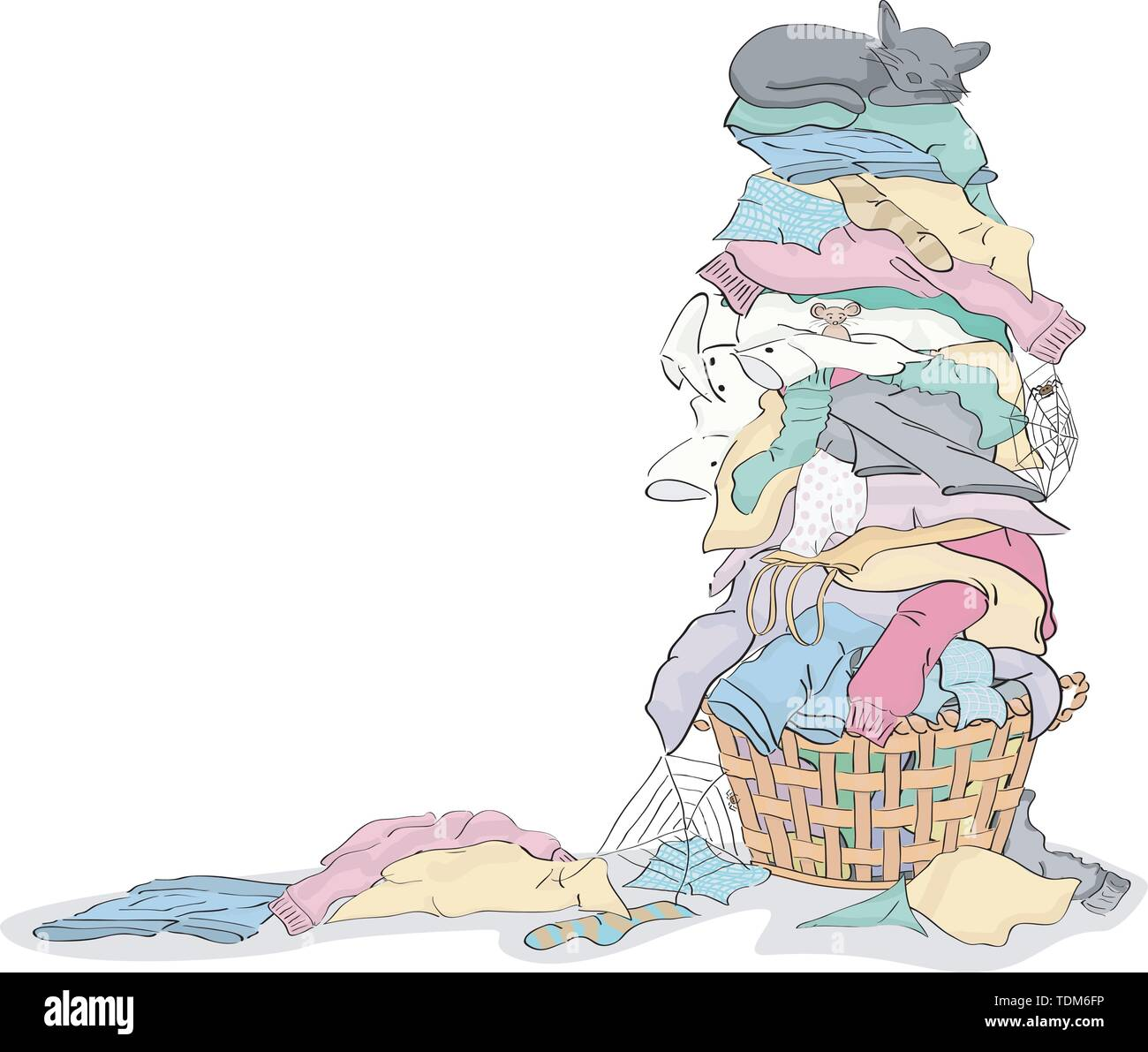 Tall Pile of Dirty Laundry in Basket with Cat and Critters grouped and layered easy to edit - Stock Image