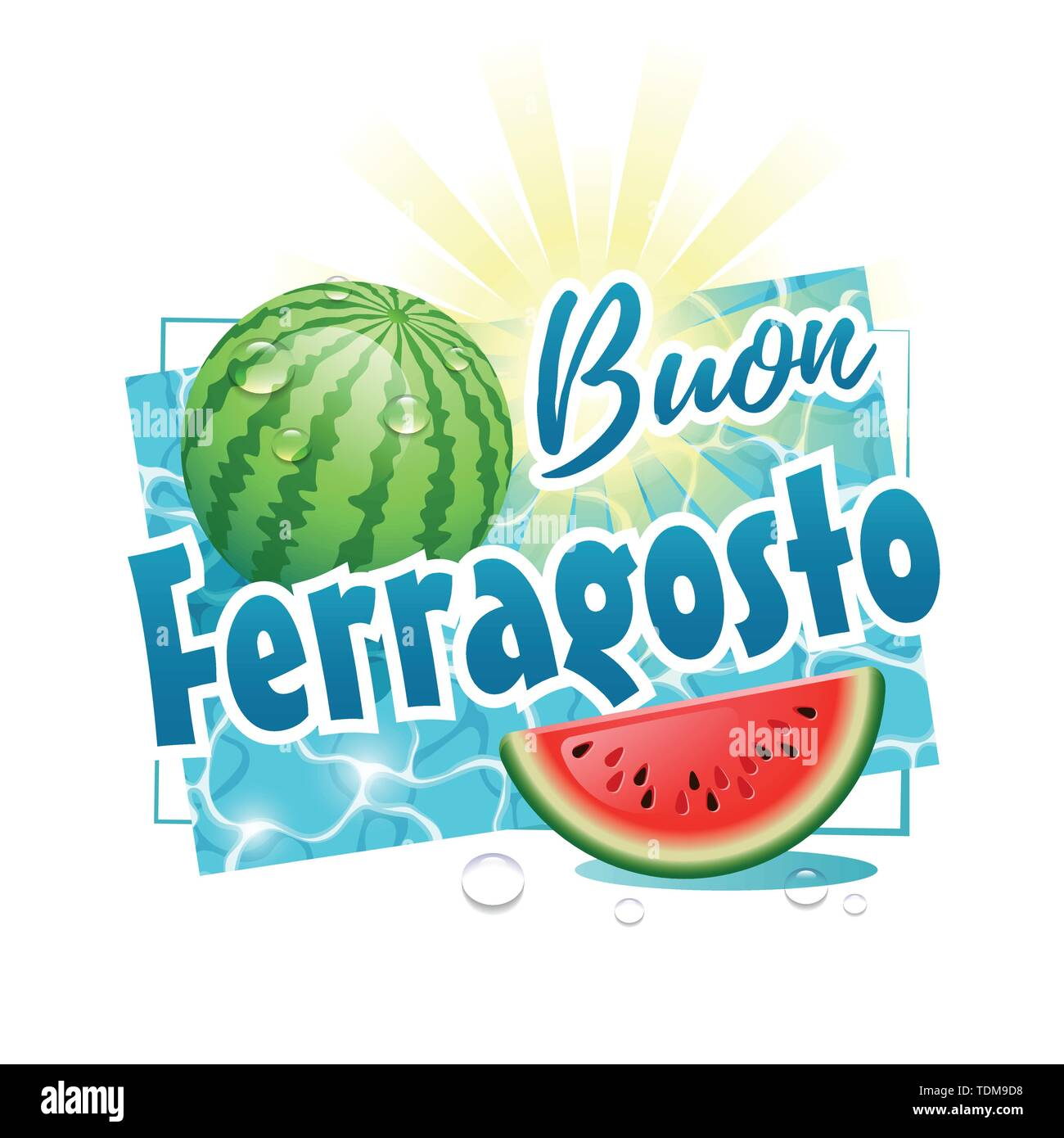 Buon Ferragosto. Happy Summer Holidays in Italian. Italian summer festival concept with watermelon, sun and water drops on a sunny water surface. Vect - Stock Image