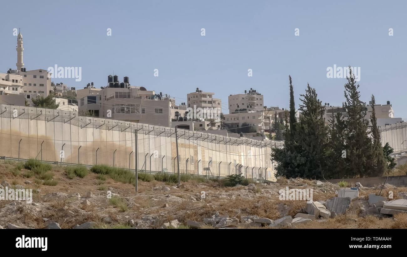 part of the border wall between palestine and israel - Stock Image