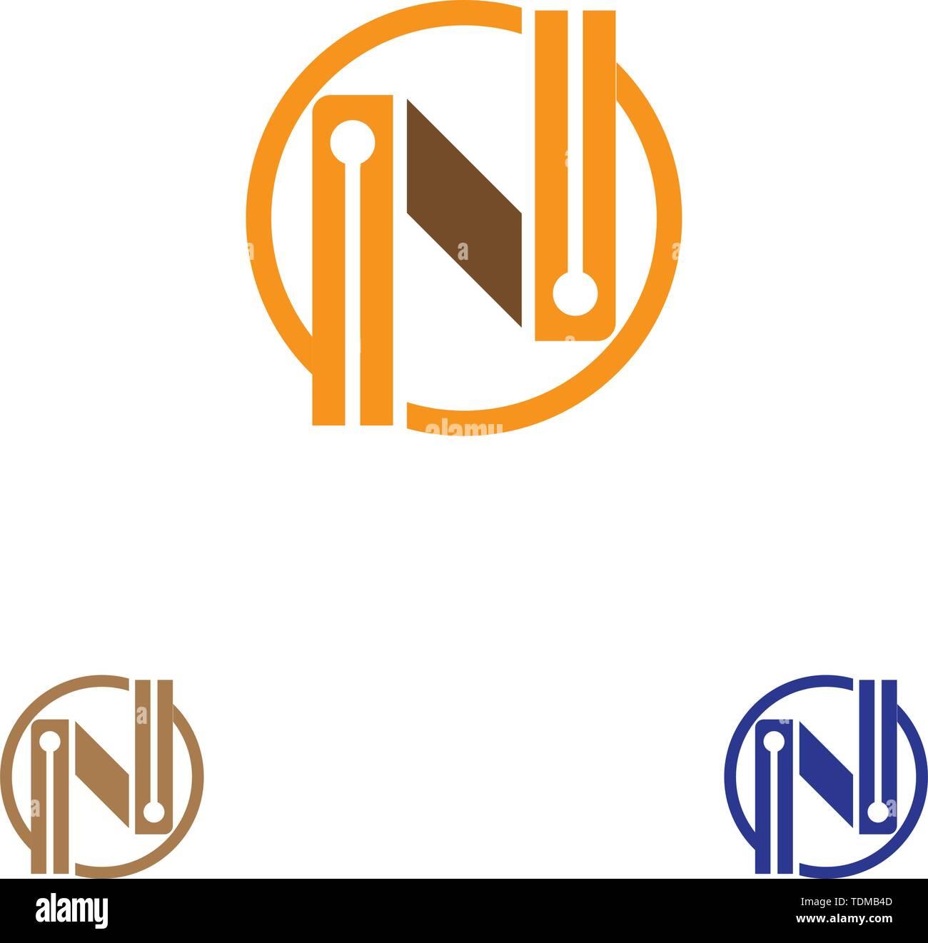 N Letter Logo Template vector icon illustration design - Stock Image