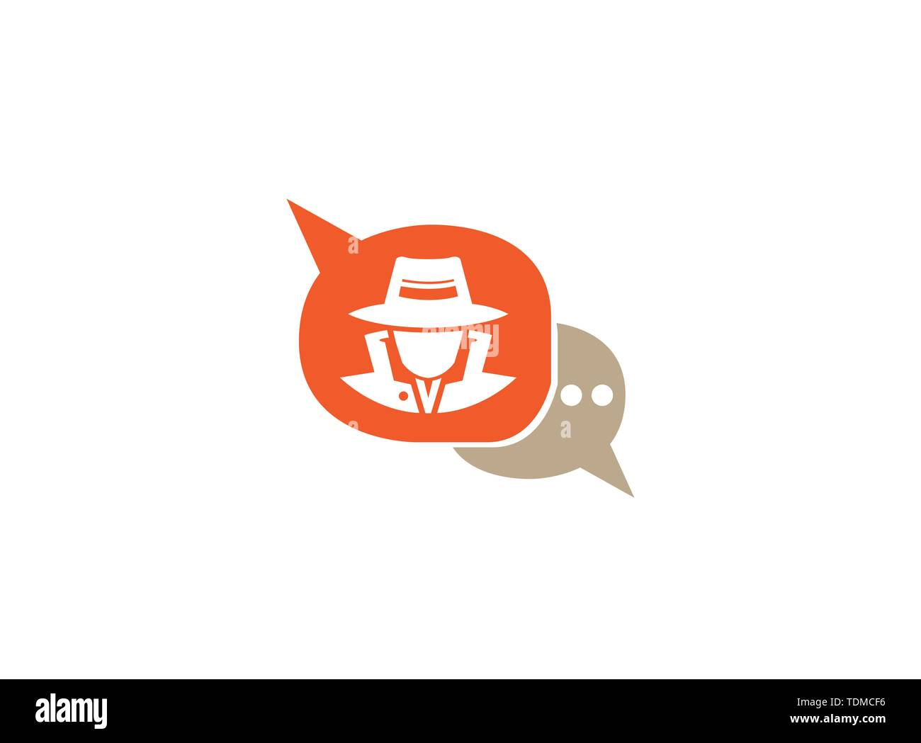 detective spy with hat in a chat icon for logo design illustration, secret job icon - Stock Image