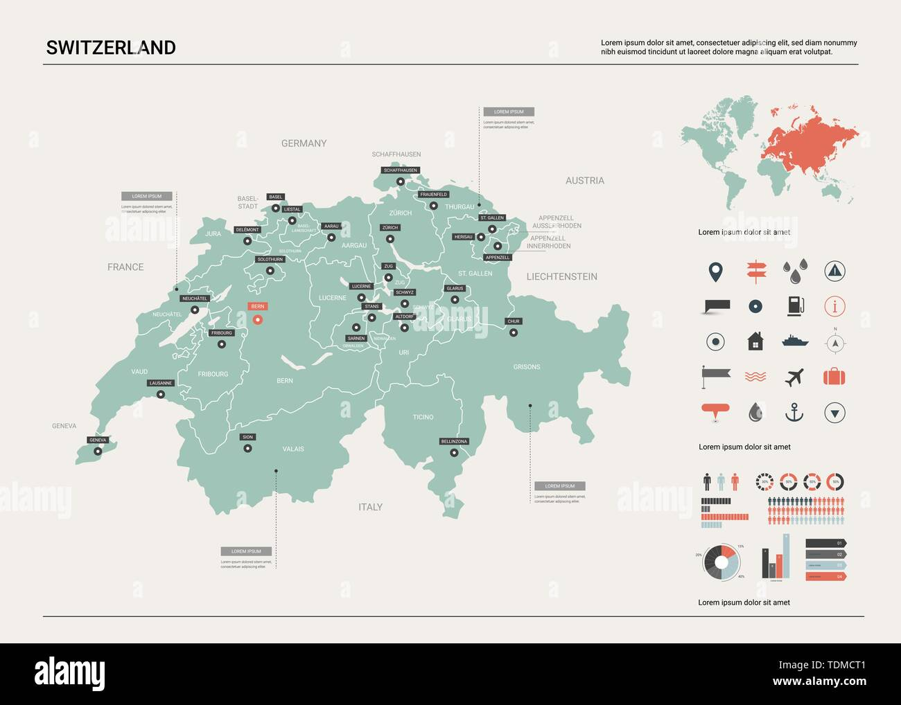 Picture of: Vector Map Of Switzerland Country Map With Division Cities And Capital Bern Political Map World Map Infographic Elements Stock Vector Image Art Alamy