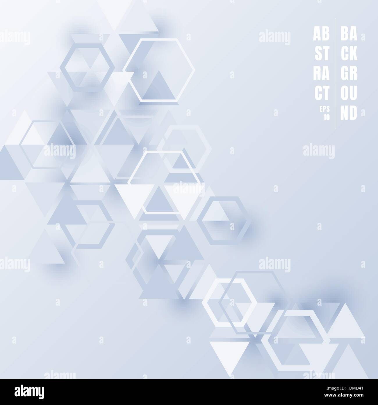 Abstract Triangles And Hexagons Light Blue Color With Shadow