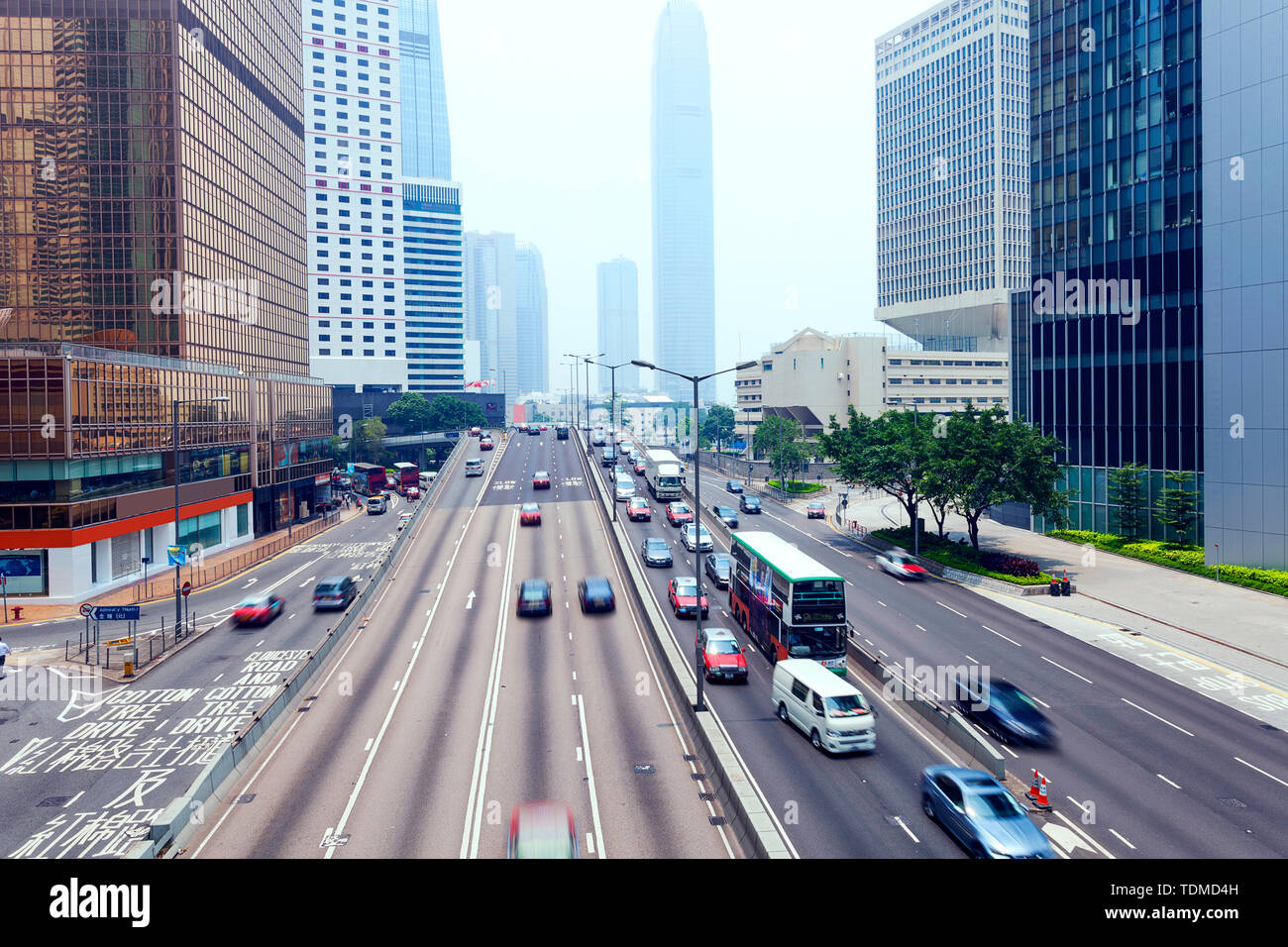 traffic of modern city hongkong at daytime Stock Photo