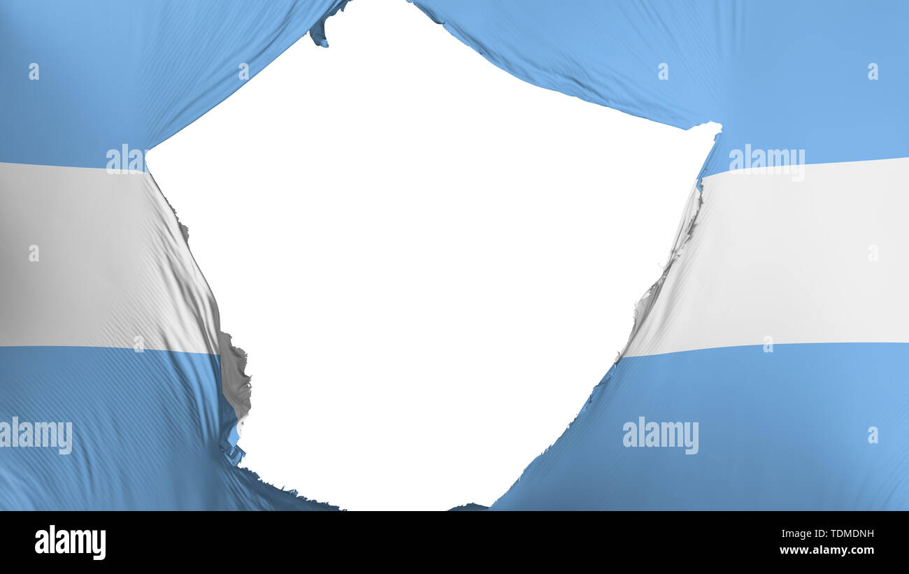 Cracked Argentina flag, white background, 3d rendering - Stock Image