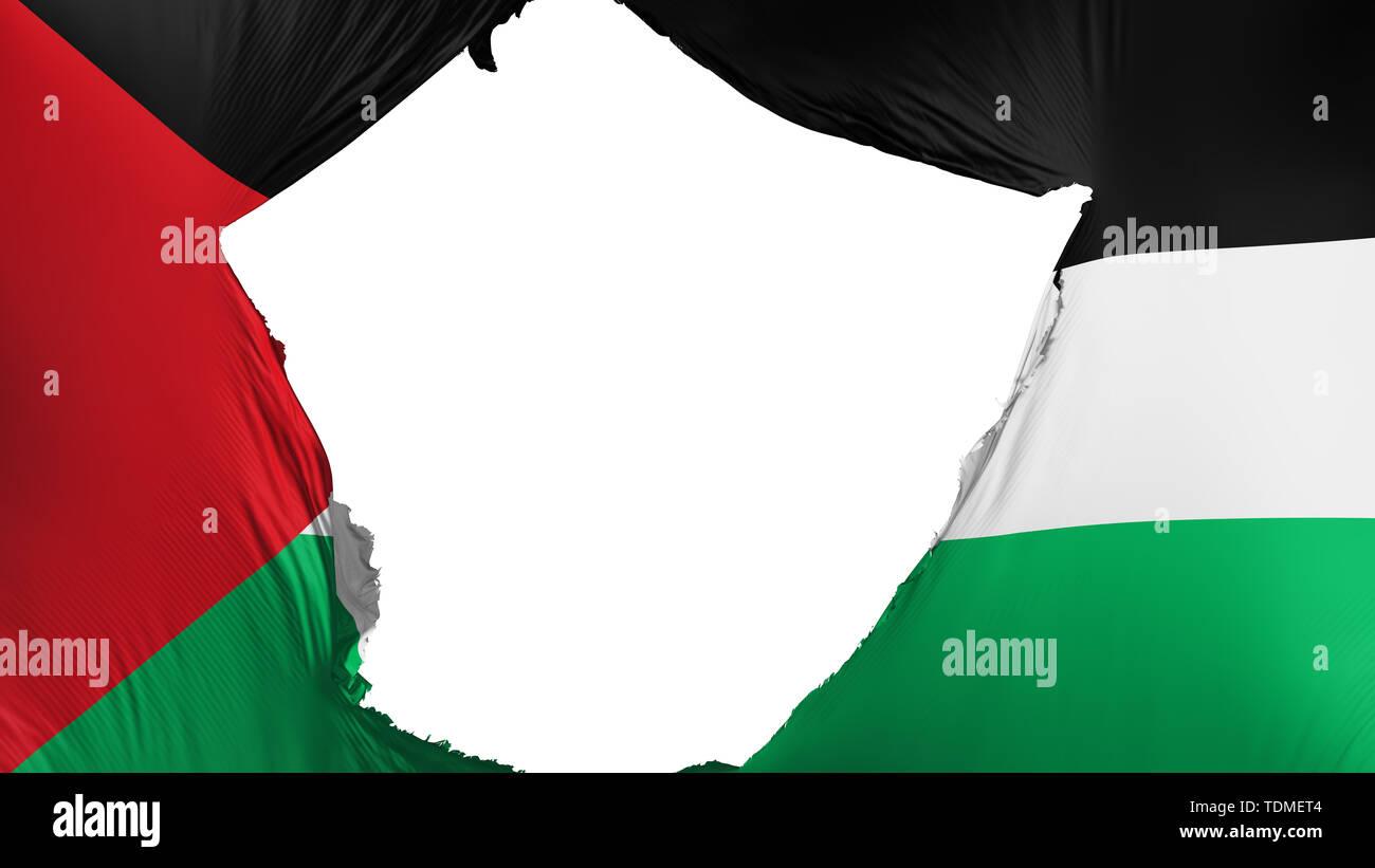 Cracked Sahrawi Arab Democratic Republic flag, white background, 3d rendering - Stock Image
