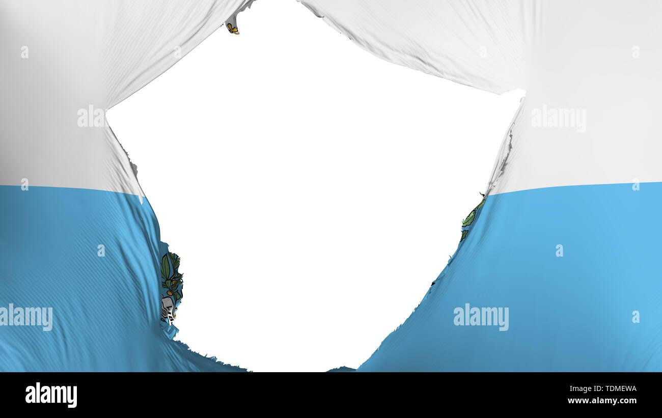 Cracked San Marino flag, white background, 3d rendering - Stock Image