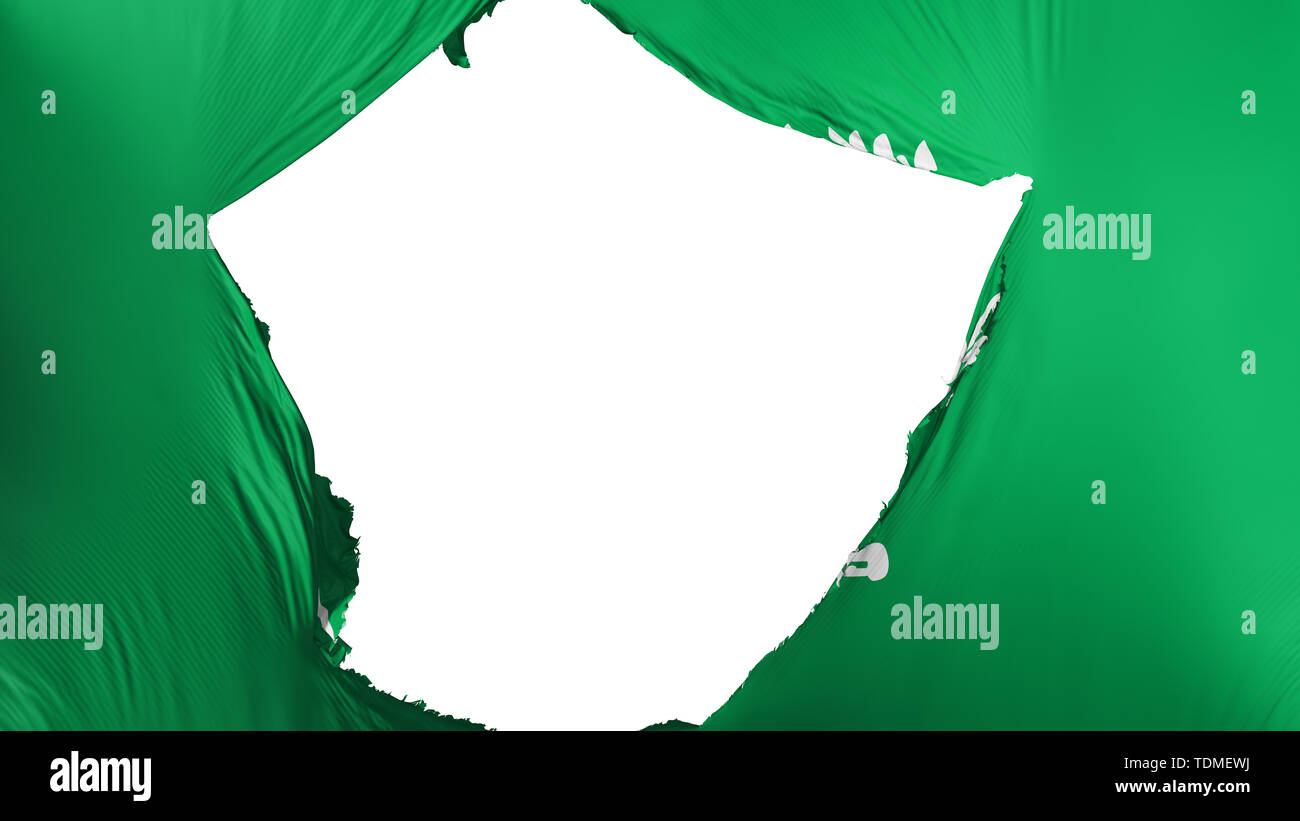 Cracked Saudi Arabia flag - Stock Image