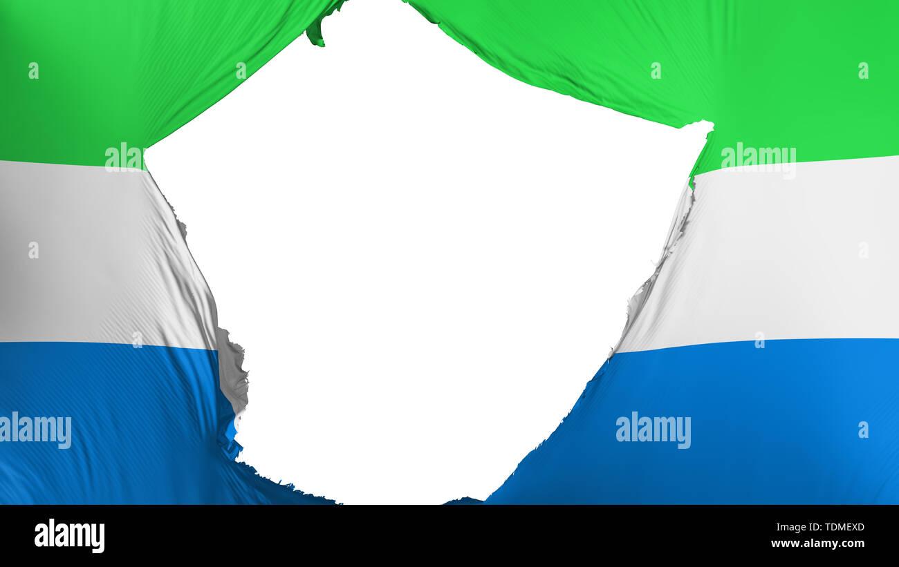 Cracked Sierra Leone flag - Stock Image