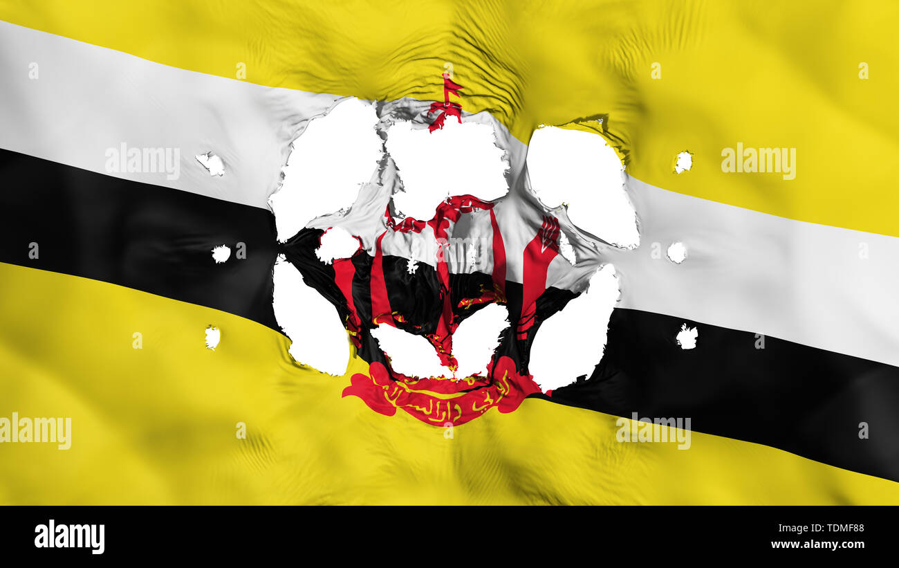 Holes in Bandar Seri Begawan flag - Stock Image
