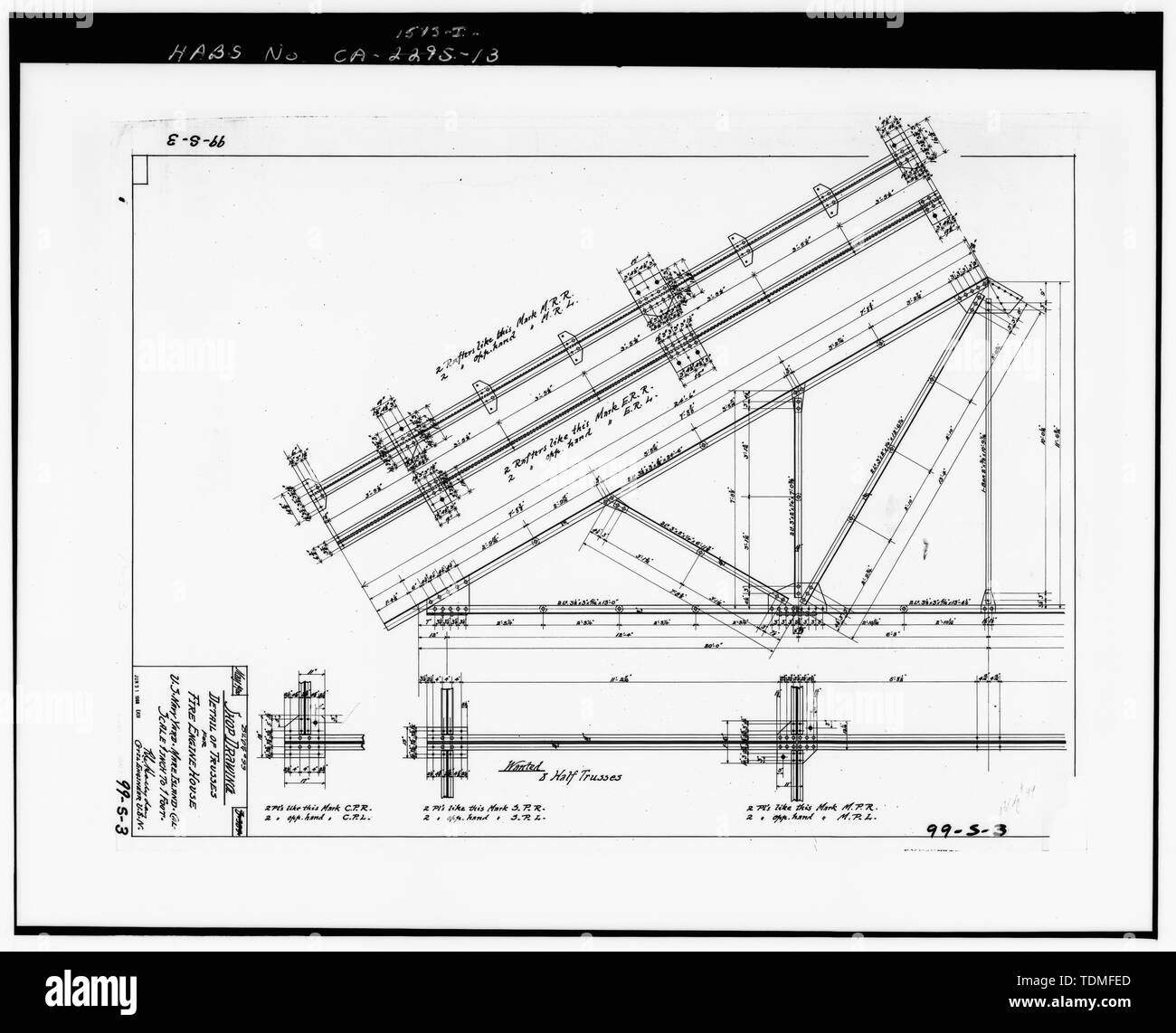 PHOTOCOPY OF DRAWING 99-S-3, SHOP DRAWING, DETAIL OF TRUSSES FOR FIRE ENGINE HOUSE, MAY 1900. - Mare Island Naval Shipyard, Firehouse, Vallejo, Solano County, CA Stock Photo