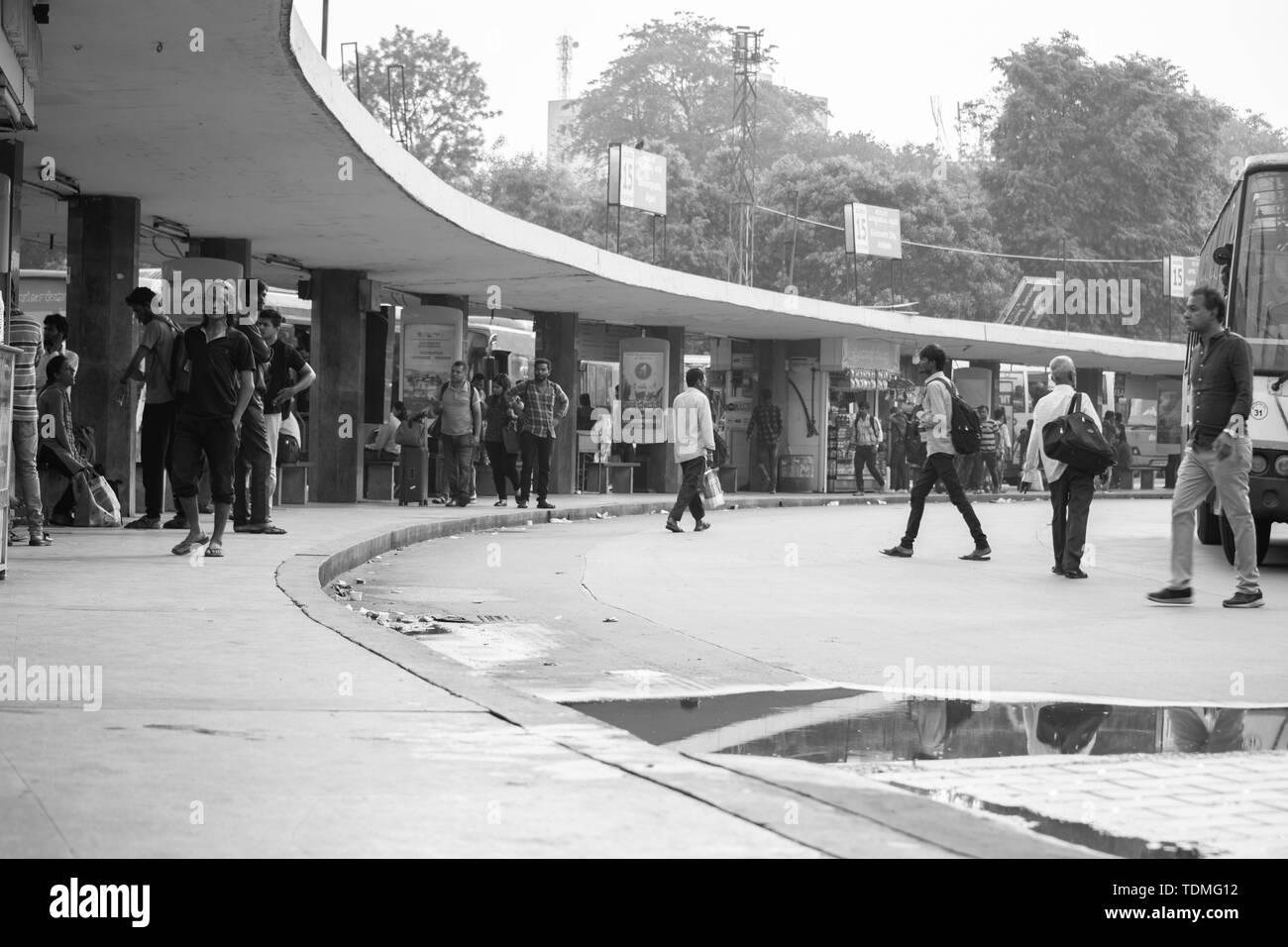 BANGALORE INDIA June 3, 2019 : Monochrome Image of busy people waiting for bus at Majestic Bus Station Bengaluru, karnataka, India Stock Photo
