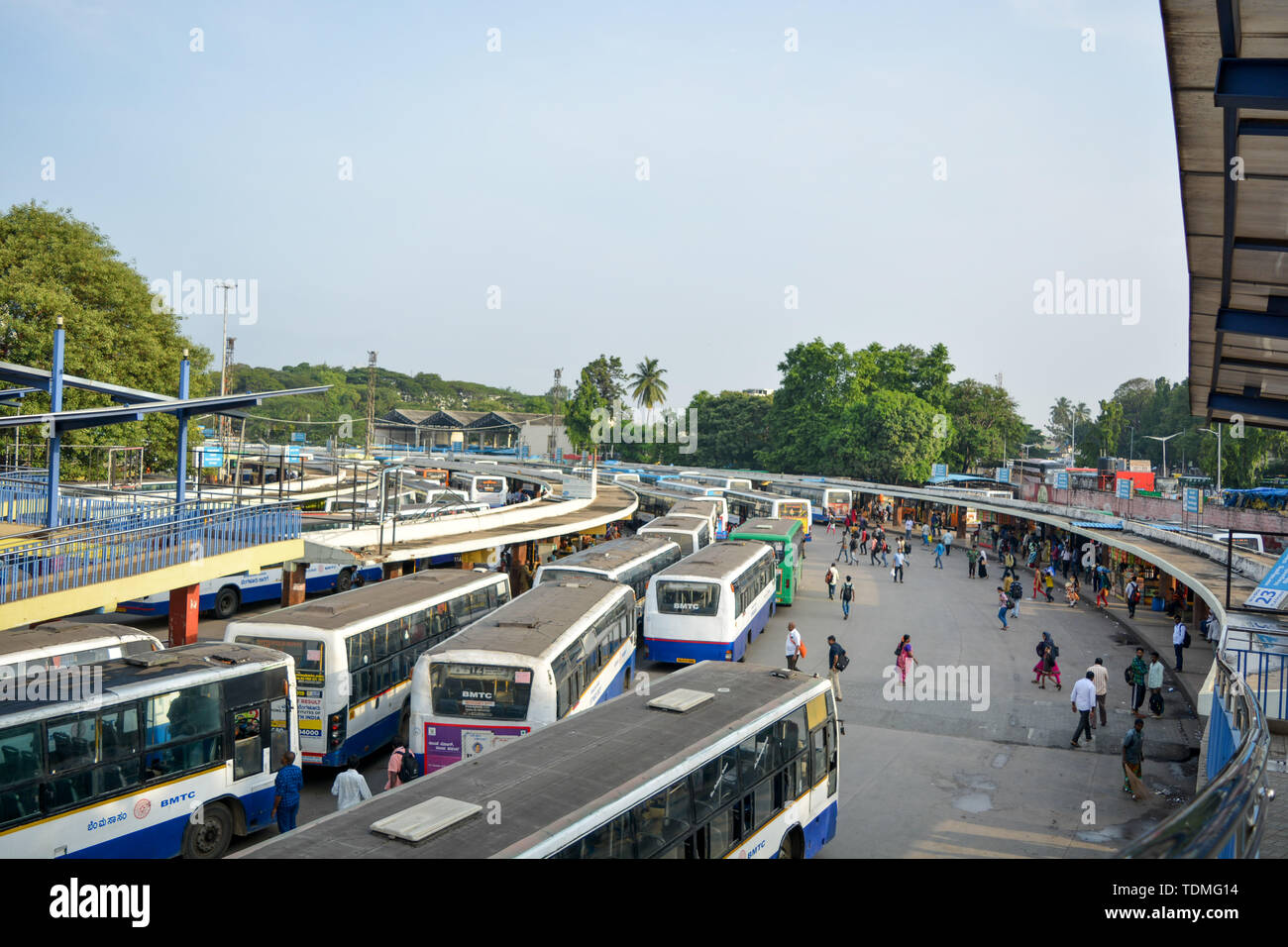BANGALORE INDIA June 3, 2019: Stack of Buses in the Kempegowda Bus Station known as Majestic during morning time. Stock Photo