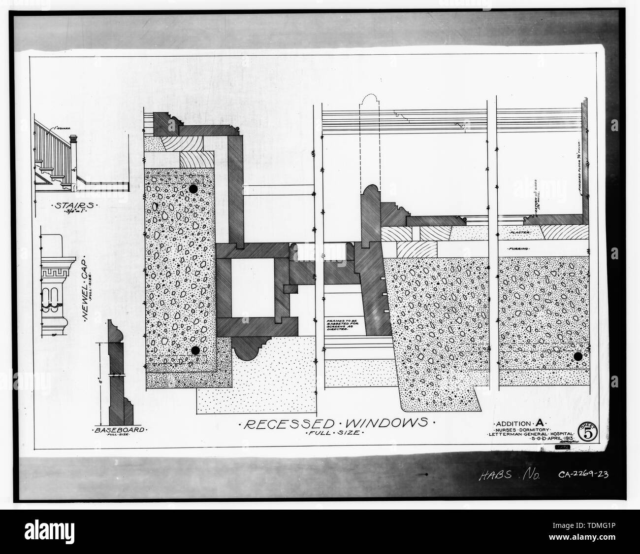 PHOTOCOPY OF ORIGINAL DRAWING (from Directorate of Facilities Engineering, HQ Presidio of San Francisco, California 94129) RECESSED WINDOWS (DETAILS), ADDITION A, NURSES DORMITORY, LETTERMAN GENERAL HOSPITAL, DEC 1914, SHEET 5. - Letterman General Hospital, Nurses' Quarters, Girard Road and Lincoln Boulevard, Presidio of San Francisco, San Francisco, San Francisco County, CA - Stock Image