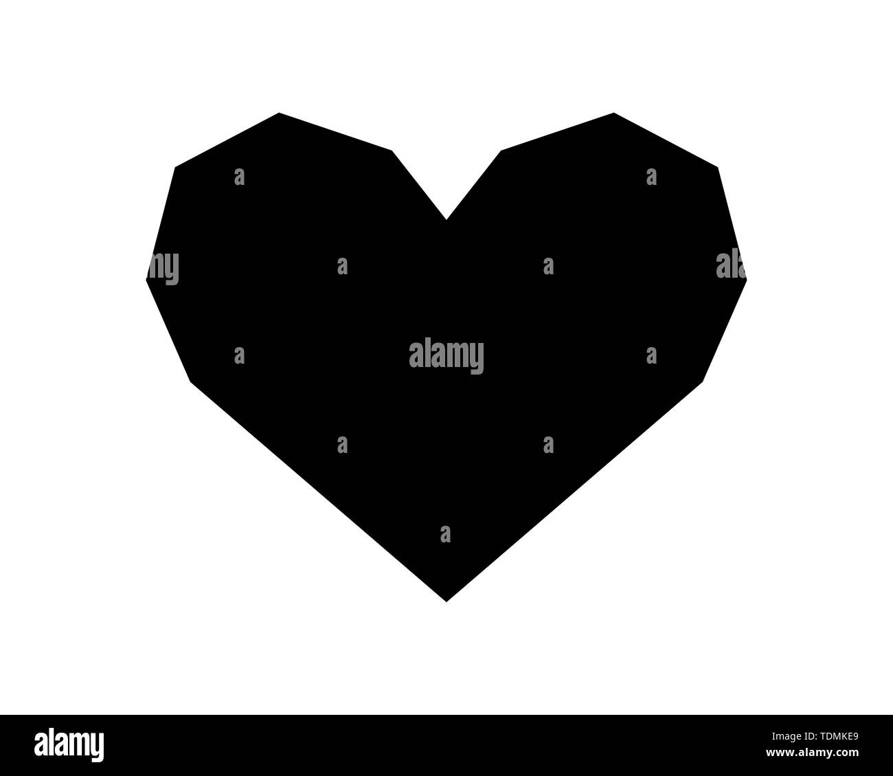 Love heart vector icon black silhouette isolated on white background. - Stock Image