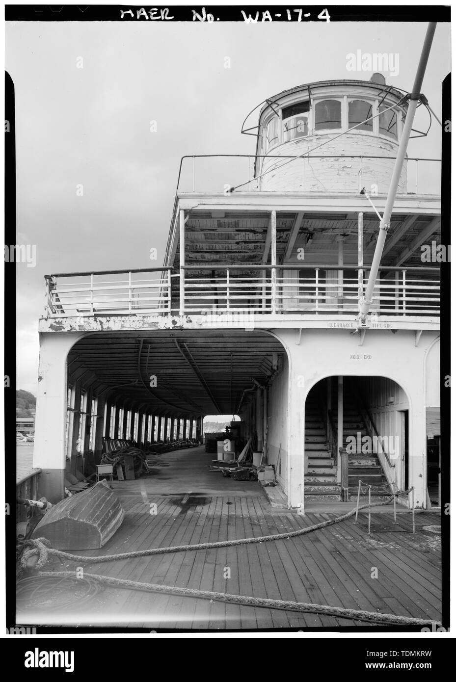 Partial view of stern deck and upper structure - San Mateo Ferry, South end of Lake Union, Seattle, King County, WA; Bethlehem Shipbuilding Corporation; Lebovich, Bob, historian; Lowe, Jet, photographer - Stock Image
