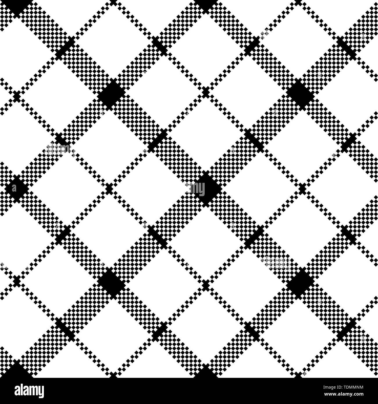Flower of scotland tartan black white pixel seamless pattern. Vector illustration. - Stock Vector