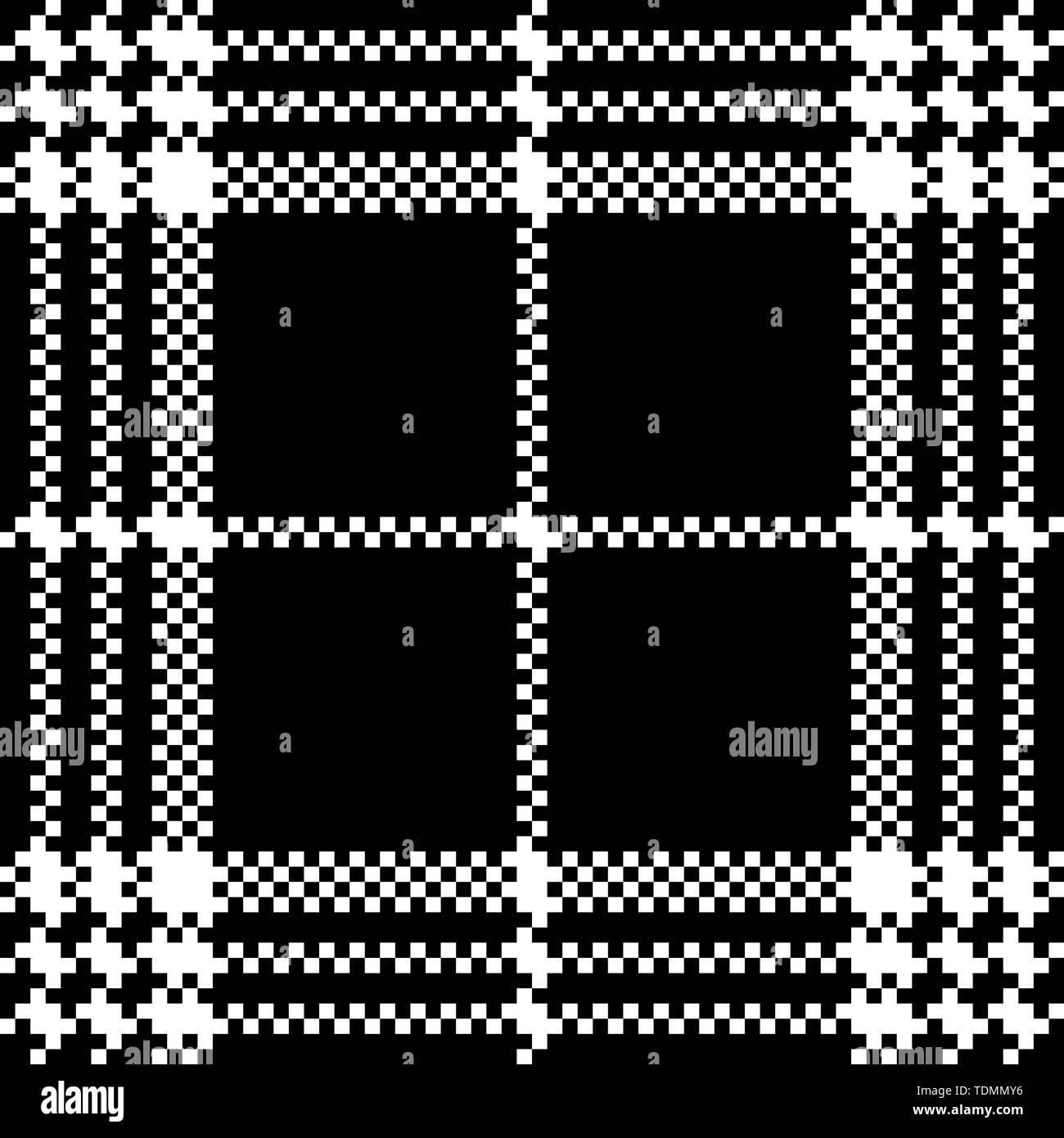 Simple dark fabric check black white seamless pattern. Vector illustration. - Stock Vector