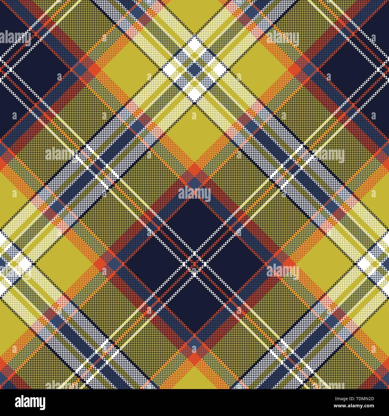 Yellow blue check tartan pixel seamless pattern. Vector illustration. - Stock Vector