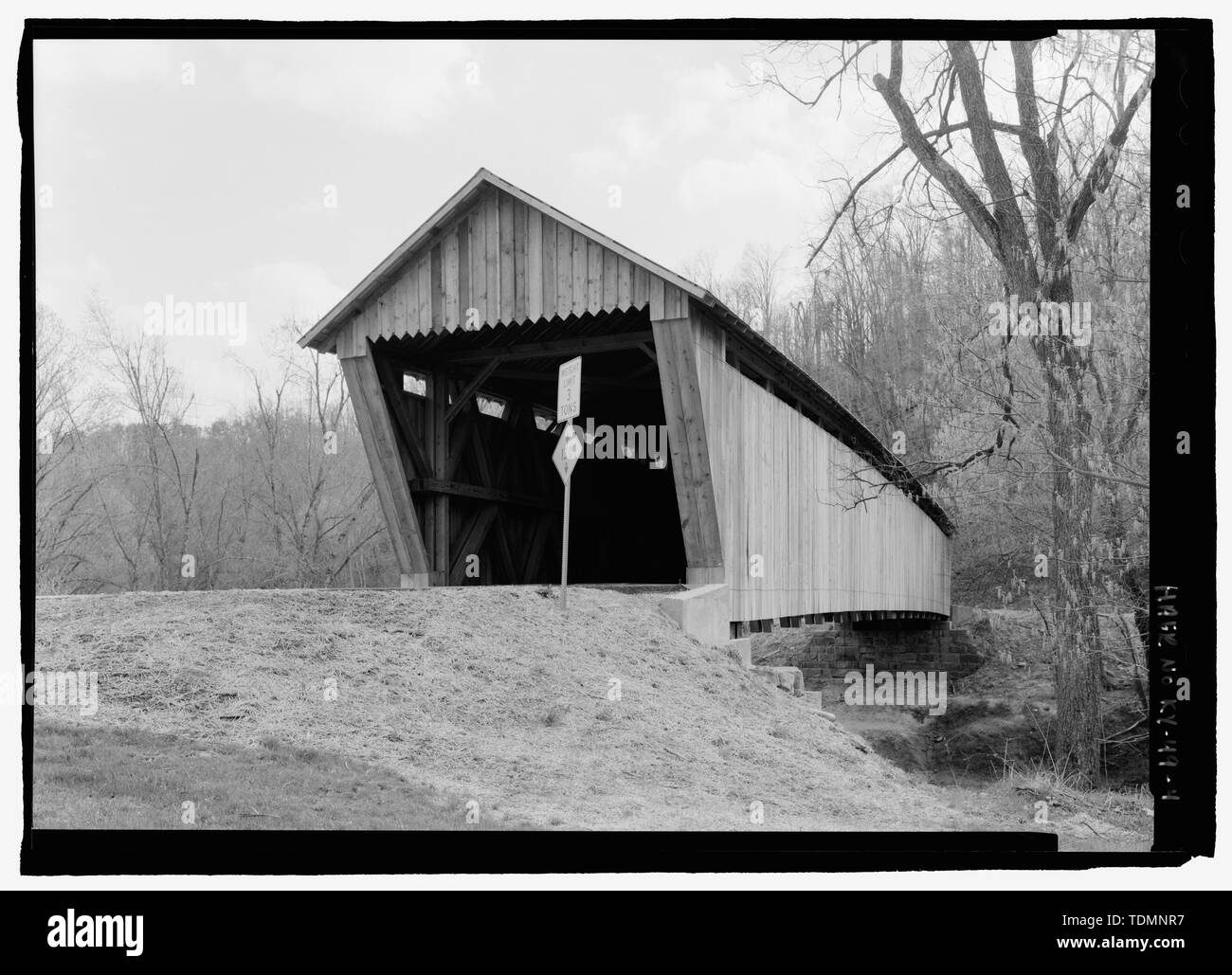 Perspective. - Bennett's Mill Bridge, Spanning Tygart's Creek, East Tygart's Creek Road (CR 1215), Lynn, Greenup County, KY; Bennett, B F; Reid, A L; Wheeler, Isaac Hastings; Wheeler, William; McGee, E A; Darlington, Joseph; Darlington, Gabriel; Bennett, William  P; Bennett, Benjamin  F; Federal Highway Association; Bower Bridge Company; Bower, Louis; Intech Contracting; Marston, Christopher, project manager; Christianson, Justine, transmitter; Federal Highway Administration, sponsor - Stock Image