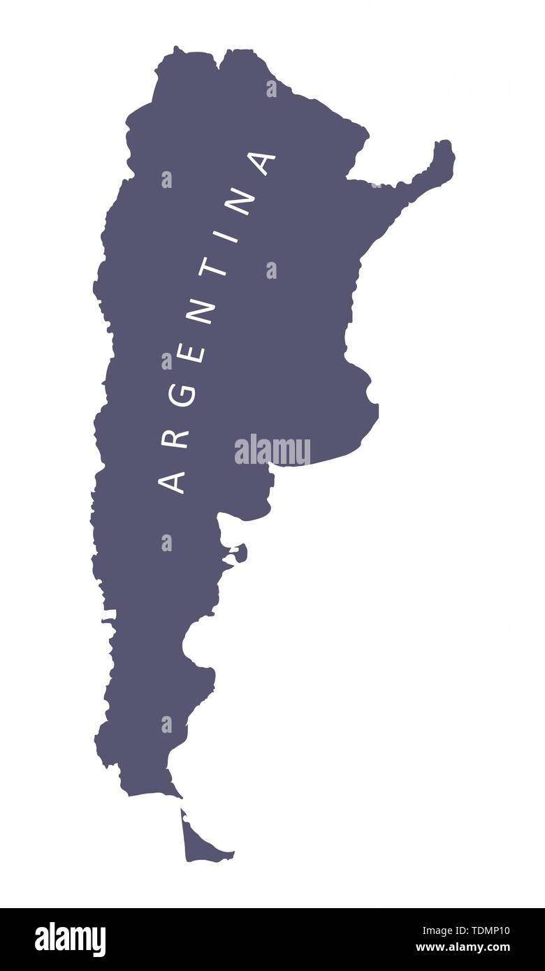 Argentina silhouette map isolated on white background - Stock Image