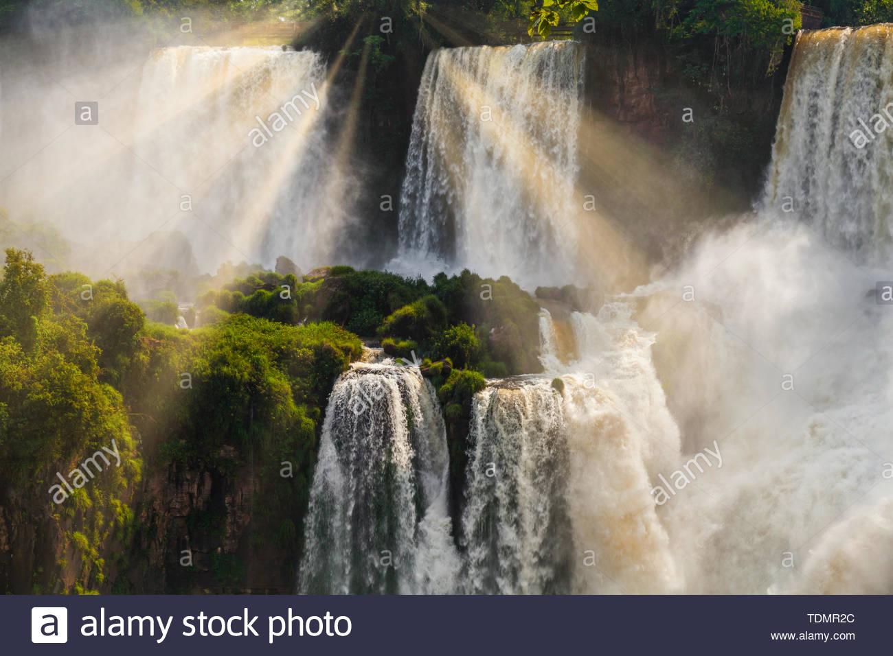 Iguazu Falls Cataratas del Iguazu are waterfalls of the Iguazu River - Stock Image