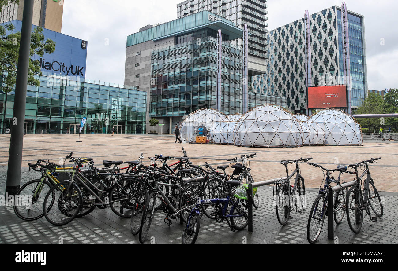 A view of Pollution Pods installed by Cleanairgm.com at MediaCityUK in Manchester. People can experience the air quality of cities across the world from clean air of Tautra in Norway and the smog and pollution of London, New Dehli, Beijing and Sao Paolo, replicated in the free airpods. - Stock Image