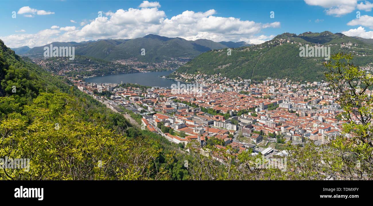 Como - The city among the mountains and lake Como. - Stock Image