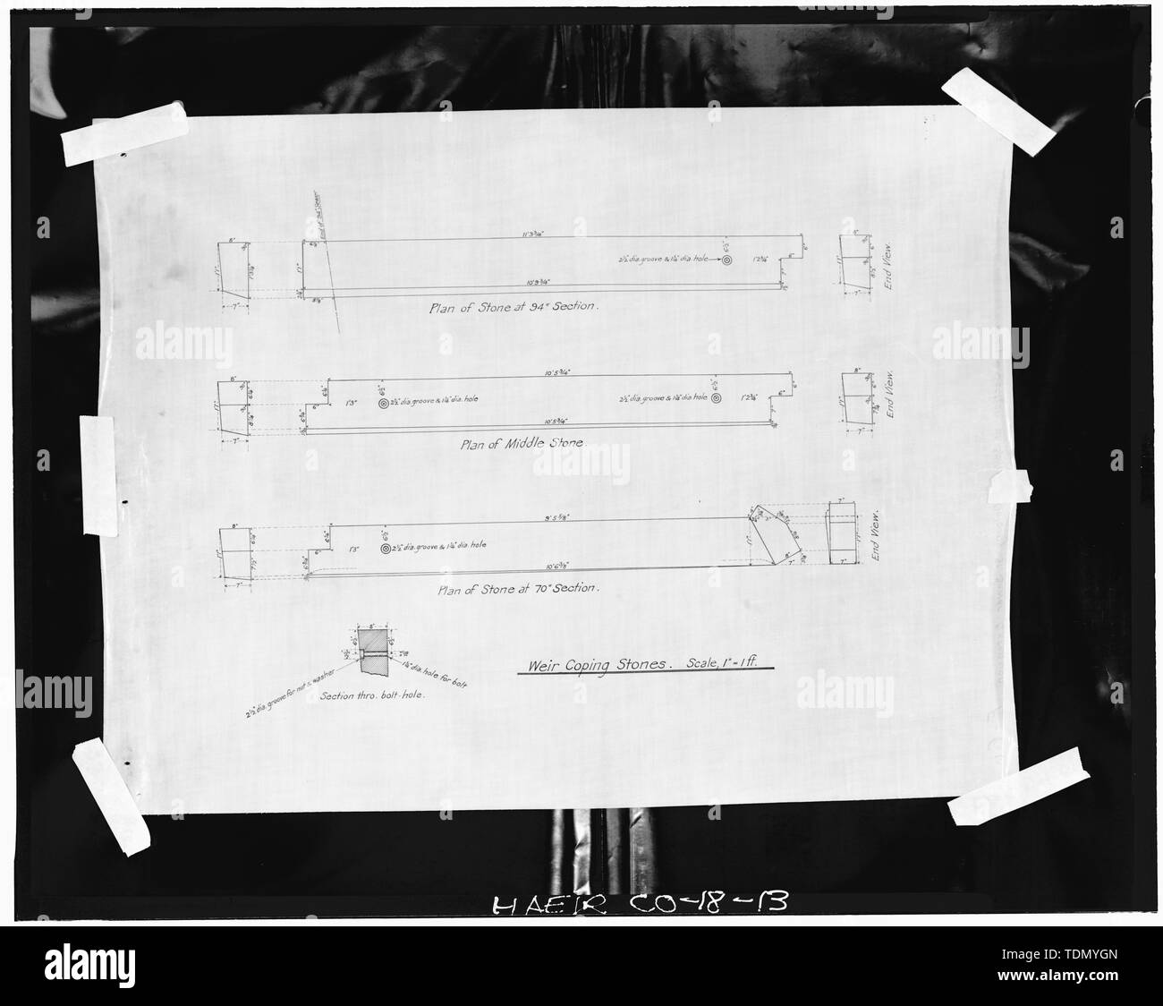 PLAN FOR WEIR COPING STONES. THESE ARE THE GRANITE STONES VISIBLE INSIDE THE OVERFLOW CHAMBER. - Thirty-first Street Overflow Structure, Thirty-first Street, Denver, Denver County, CO - Stock Image