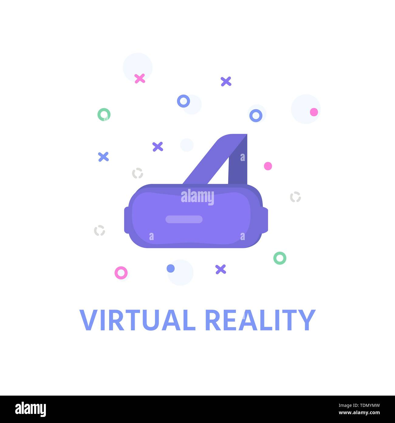 Virtual reality concept for design. Icon of goggle headset,  vr interface, learning and interacting with imaginary or virtual world. Vector VR glasses - Stock Image