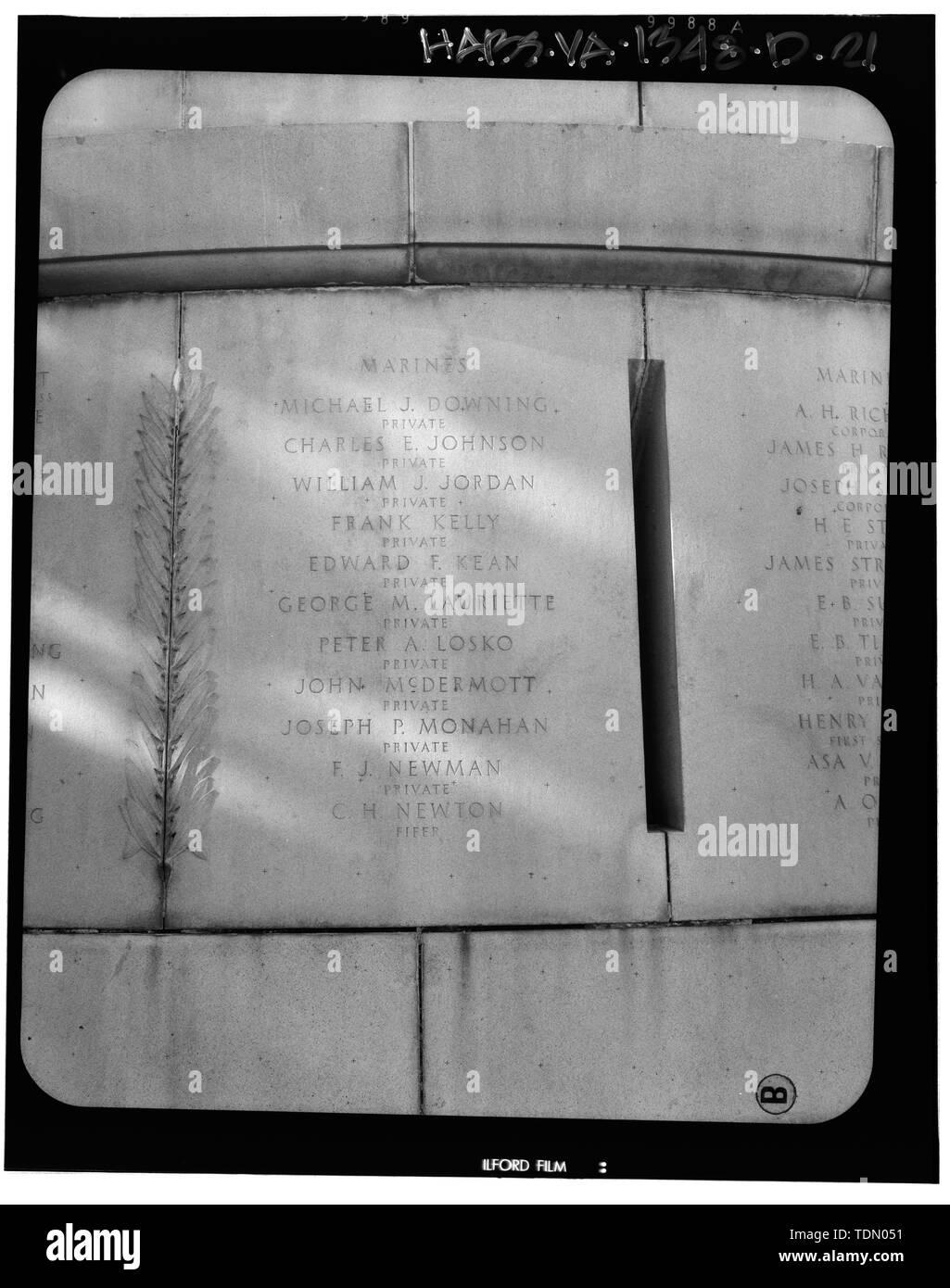 Panel 11 - Arlington National Cemetery, USS Maine Memorial, Arlington, Arlington County, VA; U.S. Army Corps of Engineers; Wyeth, Nathan C; Black, William M; Patrick, Mason M; Ferguson, H B; Bixby, W H; Goodson, W F; Lackawanna Steel Company; T.L. Huston Construction Company; Harris Brothers; Clark, D Lombillo; Primelles, Arturo; Rhodes, D H; Jenkins, Oliver B; Tilford, James D; Aleshire, J B; Stimson, H E; Scofield, John J; Hugh, R P; Houston, J B; Sharpe, Henry G; Downey, G F; Clem, L; Cosby, Spencer; Taft, William Howard; Commission of Fine Arts; Olmsted, Fredrick Law; French, Daniel Cheste - Stock Image