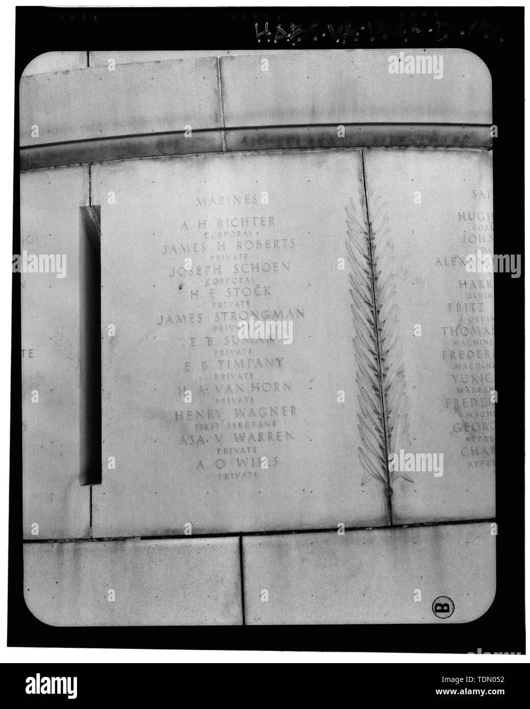 Panel 12 - Arlington National Cemetery, USS Maine Memorial, Arlington, Arlington County, VA; U.S. Army Corps of Engineers; Wyeth, Nathan C; Black, William M; Patrick, Mason M; Ferguson, H B; Bixby, W H; Goodson, W F; Lackawanna Steel Company; T.L. Huston Construction Company; Harris Brothers; Clark, D Lombillo; Primelles, Arturo; Rhodes, D H; Jenkins, Oliver B; Tilford, James D; Aleshire, J B; Stimson, H E; Scofield, John J; Hugh, R P; Houston, J B; Sharpe, Henry G; Downey, G F; Clem, L; Cosby, Spencer; Taft, William Howard; Commission of Fine Arts; Olmsted, Fredrick Law; French, Daniel Cheste - Stock Image