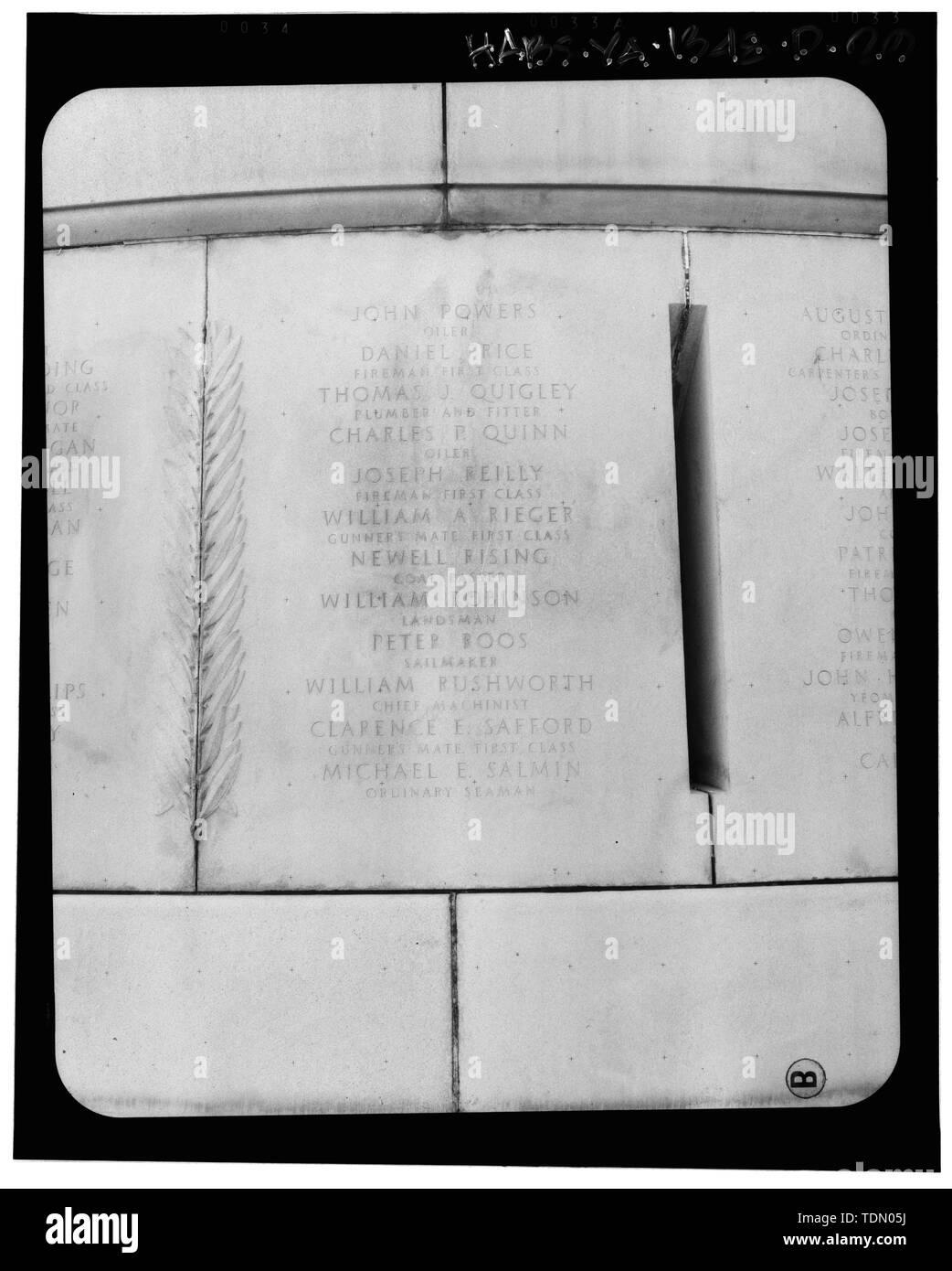 Panel 19 - Arlington National Cemetery, USS Maine Memorial, Arlington, Arlington County, VA; U.S. Army Corps of Engineers; Wyeth, Nathan C; Black, William M; Patrick, Mason M; Ferguson, H B; Bixby, W H; Goodson, W F; Lackawanna Steel Company; T.L. Huston Construction Company; Harris Brothers; Clark, D Lombillo; Primelles, Arturo; Rhodes, D H; Jenkins, Oliver B; Tilford, James D; Aleshire, J B; Stimson, H E; Scofield, John J; Hugh, R P; Houston, J B; Sharpe, Henry G; Downey, G F; Clem, L; Cosby, Spencer; Taft, William Howard; Commission of Fine Arts; Olmsted, Fredrick Law; French, Daniel Cheste - Stock Image