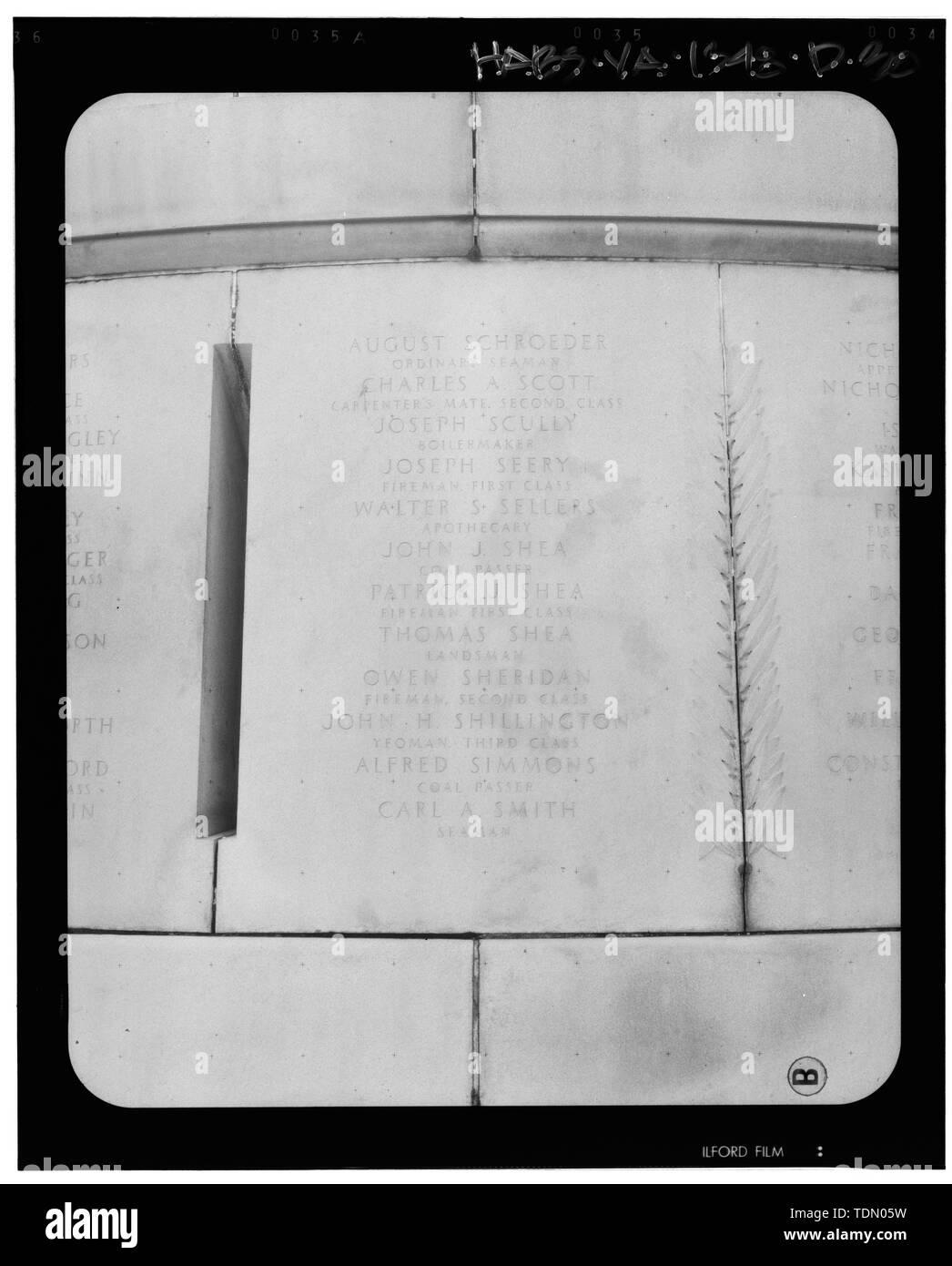 Panel 20 - Arlington National Cemetery, USS Maine Memorial, Arlington, Arlington County, VA; U.S. Army Corps of Engineers; Wyeth, Nathan C; Black, William M; Patrick, Mason M; Ferguson, H B; Bixby, W H; Goodson, W F; Lackawanna Steel Company; T.L. Huston Construction Company; Harris Brothers; Clark, D Lombillo; Primelles, Arturo; Rhodes, D H; Jenkins, Oliver B; Tilford, James D; Aleshire, J B; Stimson, H E; Scofield, John J; Hugh, R P; Houston, J B; Sharpe, Henry G; Downey, G F; Clem, L; Cosby, Spencer; Taft, William Howard; Commission of Fine Arts; Olmsted, Fredrick Law; French, Daniel Cheste - Stock Image