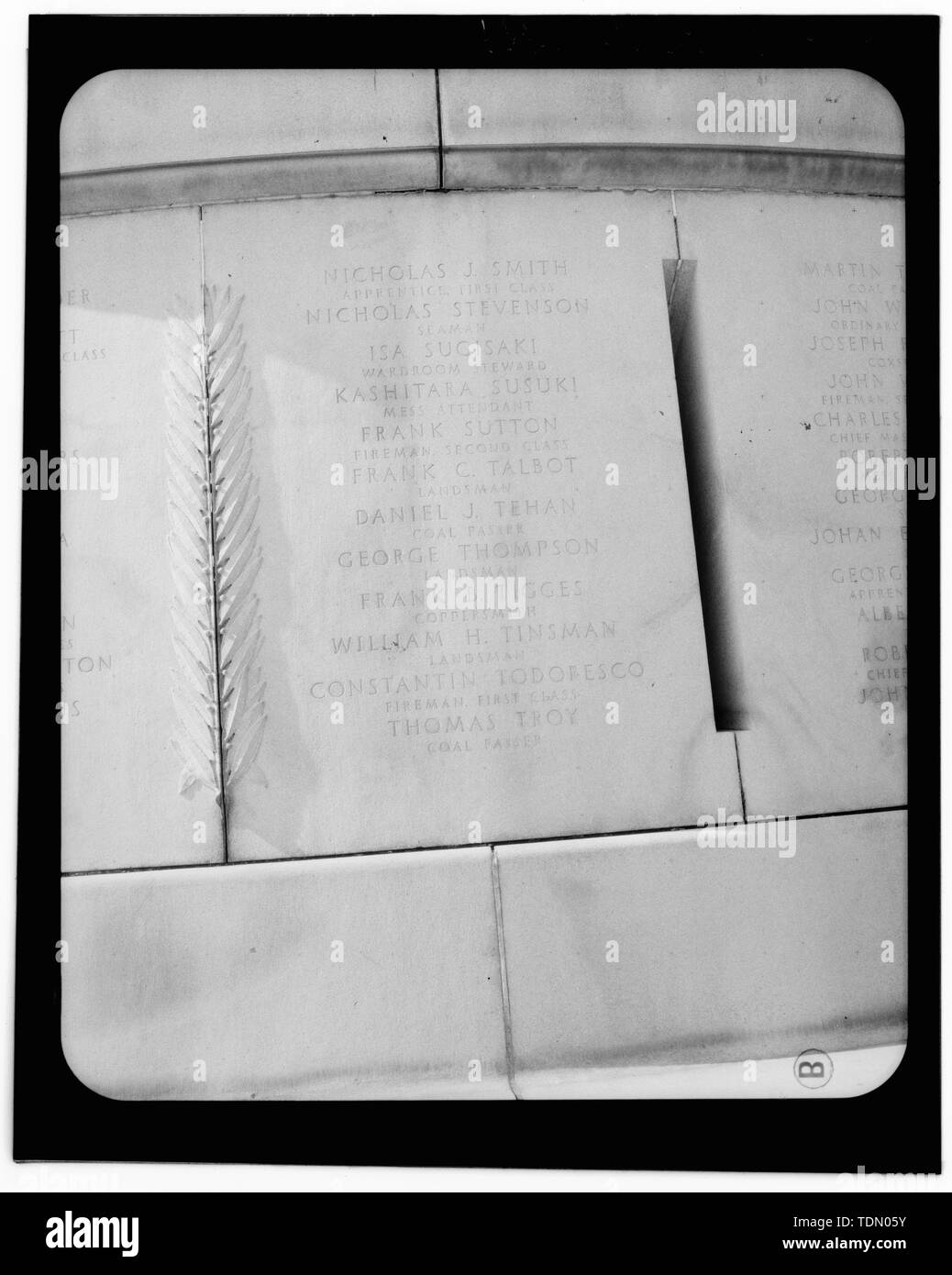 Panel 21 - Arlington National Cemetery, USS Maine Memorial, Arlington, Arlington County, VA; U.S. Army Corps of Engineers; Wyeth, Nathan C; Black, William M; Patrick, Mason M; Ferguson, H B; Bixby, W H; Goodson, W F; Lackawanna Steel Company; T.L. Huston Construction Company; Harris Brothers; Clark, D Lombillo; Primelles, Arturo; Rhodes, D H; Jenkins, Oliver B; Tilford, James D; Aleshire, J B; Stimson, H E; Scofield, John J; Hugh, R P; Houston, J B; Sharpe, Henry G; Downey, G F; Clem, L; Cosby, Spencer; Taft, William Howard; Commission of Fine Arts; Olmsted, Fredrick Law; French, Daniel Cheste - Stock Image