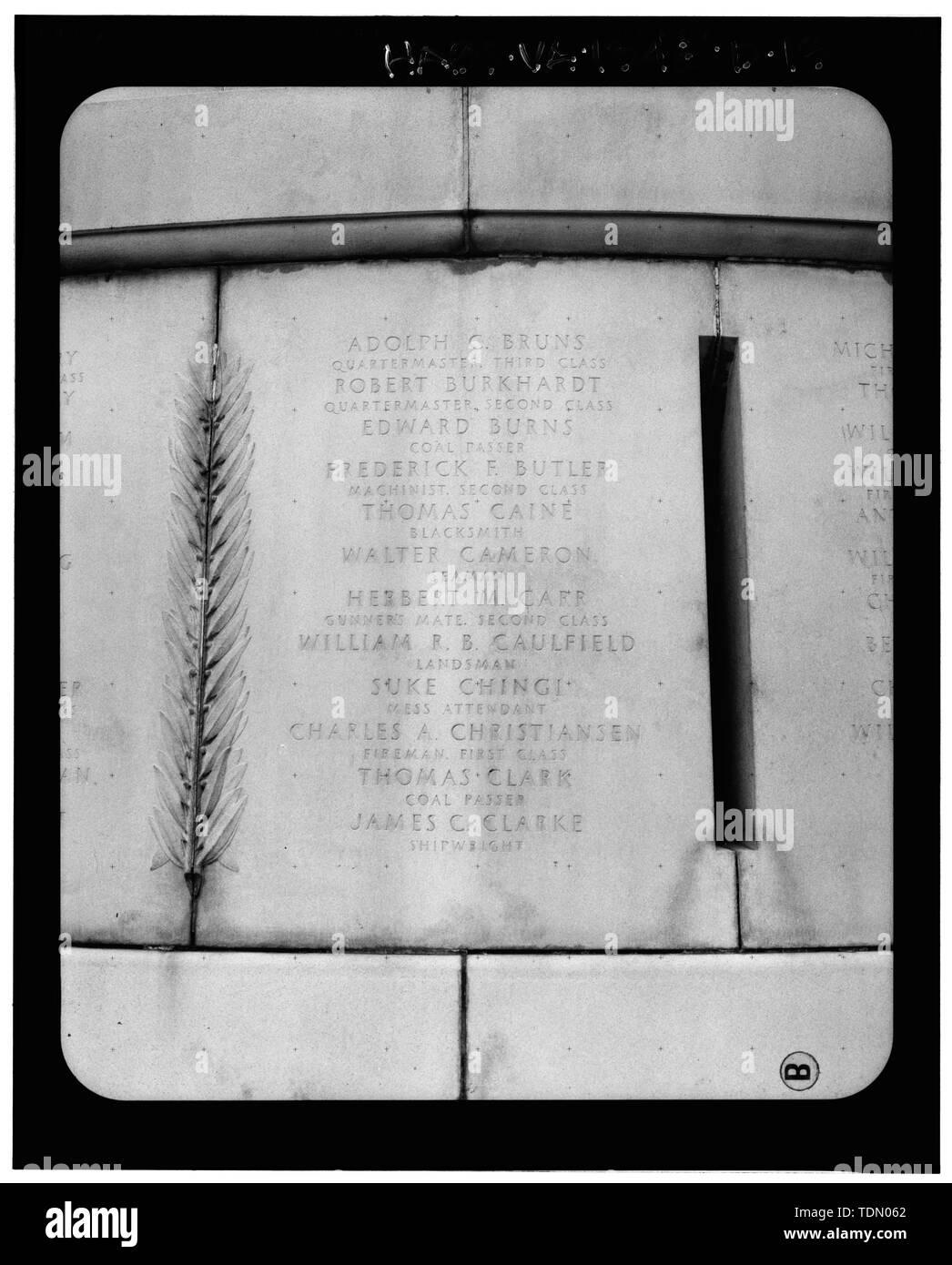 Panel 3 - Arlington National Cemetery, USS Maine Memorial, Arlington, Arlington County, VA; U.S. Army Corps of Engineers; Wyeth, Nathan C; Black, William M; Patrick, Mason M; Ferguson, H B; Bixby, W H; Goodson, W F; Lackawanna Steel Company; T.L. Huston Construction Company; Harris Brothers; Clark, D Lombillo; Primelles, Arturo; Rhodes, D H; Jenkins, Oliver B; Tilford, James D; Aleshire, J B; Stimson, H E; Scofield, John J; Hugh, R P; Houston, J B; Sharpe, Henry G; Downey, G F; Clem, L; Cosby, Spencer; Taft, William Howard; Commission of Fine Arts; Olmsted, Fredrick Law; French, Daniel Chester - Stock Image