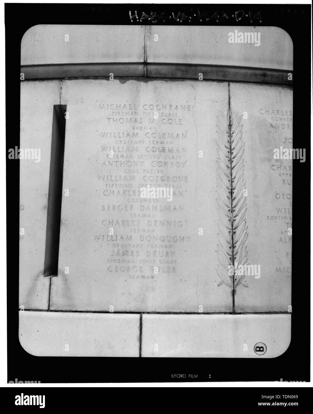 Panel 4 - Arlington National Cemetery, USS Maine Memorial, Arlington, Arlington County, VA; U.S. Army Corps of Engineers; Wyeth, Nathan C; Black, William M; Patrick, Mason M; Ferguson, H B; Bixby, W H; Goodson, W F; Lackawanna Steel Company; T.L. Huston Construction Company; Harris Brothers; Clark, D Lombillo; Primelles, Arturo; Rhodes, D H; Jenkins, Oliver B; Tilford, James D; Aleshire, J B; Stimson, H E; Scofield, John J; Hugh, R P; Houston, J B; Sharpe, Henry G; Downey, G F; Clem, L; Cosby, Spencer; Taft, William Howard; Commission of Fine Arts; Olmsted, Fredrick Law; French, Daniel Chester - Stock Image