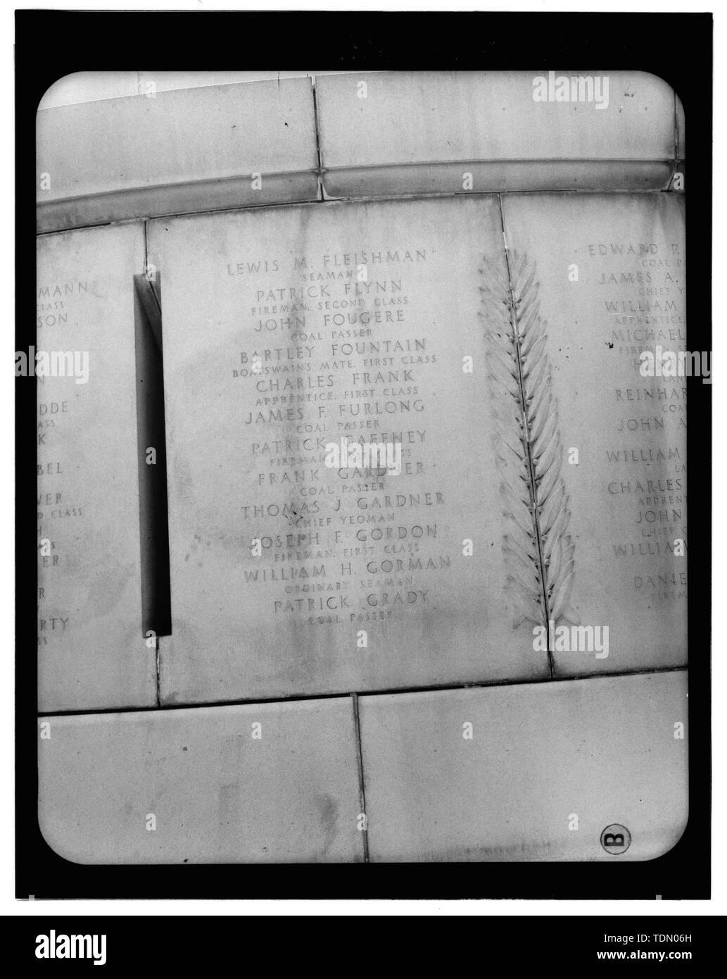 Panel 6 - Arlington National Cemetery, USS Maine Memorial, Arlington, Arlington County, VA; U.S. Army Corps of Engineers; Wyeth, Nathan C; Black, William M; Patrick, Mason M; Ferguson, H B; Bixby, W H; Goodson, W F; Lackawanna Steel Company; T.L. Huston Construction Company; Harris Brothers; Clark, D Lombillo; Primelles, Arturo; Rhodes, D H; Jenkins, Oliver B; Tilford, James D; Aleshire, J B; Stimson, H E; Scofield, John J; Hugh, R P; Houston, J B; Sharpe, Henry G; Downey, G F; Clem, L; Cosby, Spencer; Taft, William Howard; Commission of Fine Arts; Olmsted, Fredrick Law; French, Daniel Chester - Stock Image