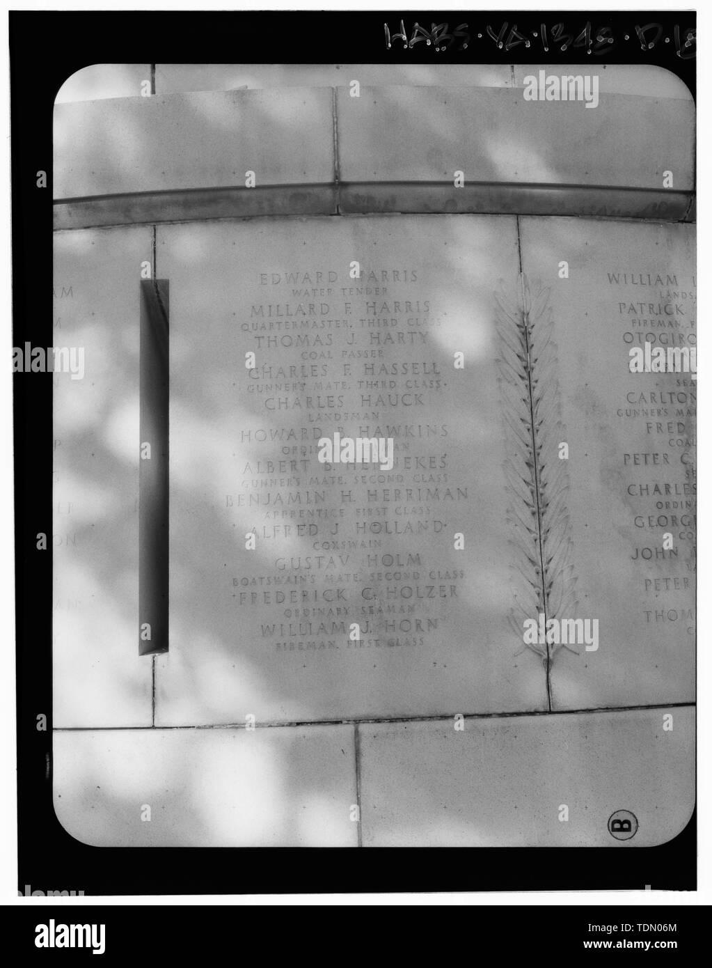 Panel 8 - Arlington National Cemetery, USS Maine Memorial, Arlington, Arlington County, VA; U.S. Army Corps of Engineers; Wyeth, Nathan C; Black, William M; Patrick, Mason M; Ferguson, H B; Bixby, W H; Goodson, W F; Lackawanna Steel Company; T.L. Huston Construction Company; Harris Brothers; Clark, D Lombillo; Primelles, Arturo; Rhodes, D H; Jenkins, Oliver B; Tilford, James D; Aleshire, J B; Stimson, H E; Scofield, John J; Hugh, R P; Houston, J B; Sharpe, Henry G; Downey, G F; Clem, L; Cosby, Spencer; Taft, William Howard; Commission of Fine Arts; Olmsted, Fredrick Law; French, Daniel Chester - Stock Image