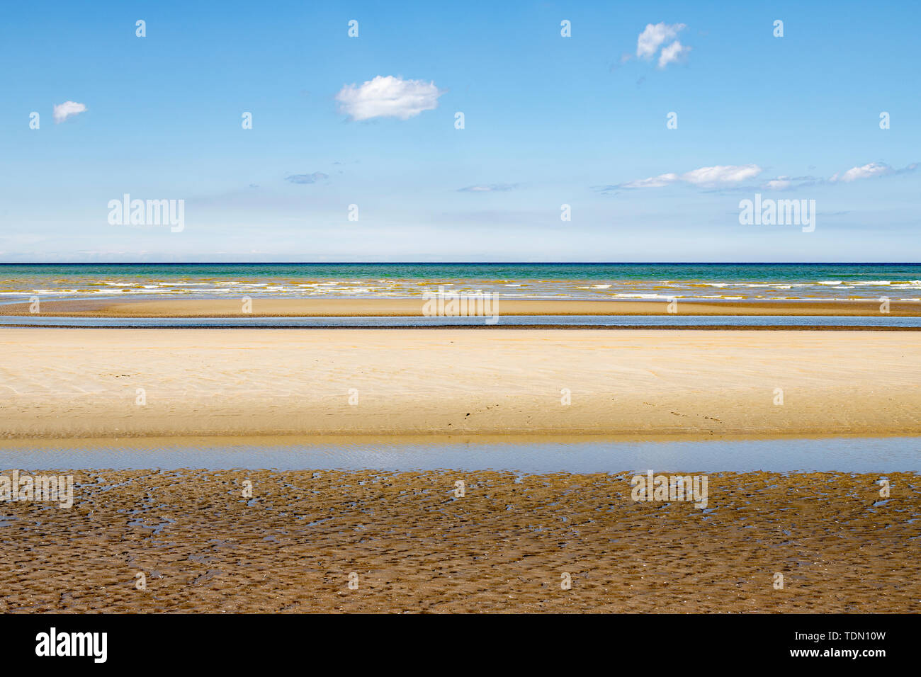 Minimalistic layered seascape with yellow, green and blue blue Stock Photo