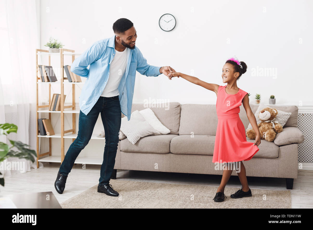 My Princess. Cute Girl Dancing With Father At Home - Stock Image