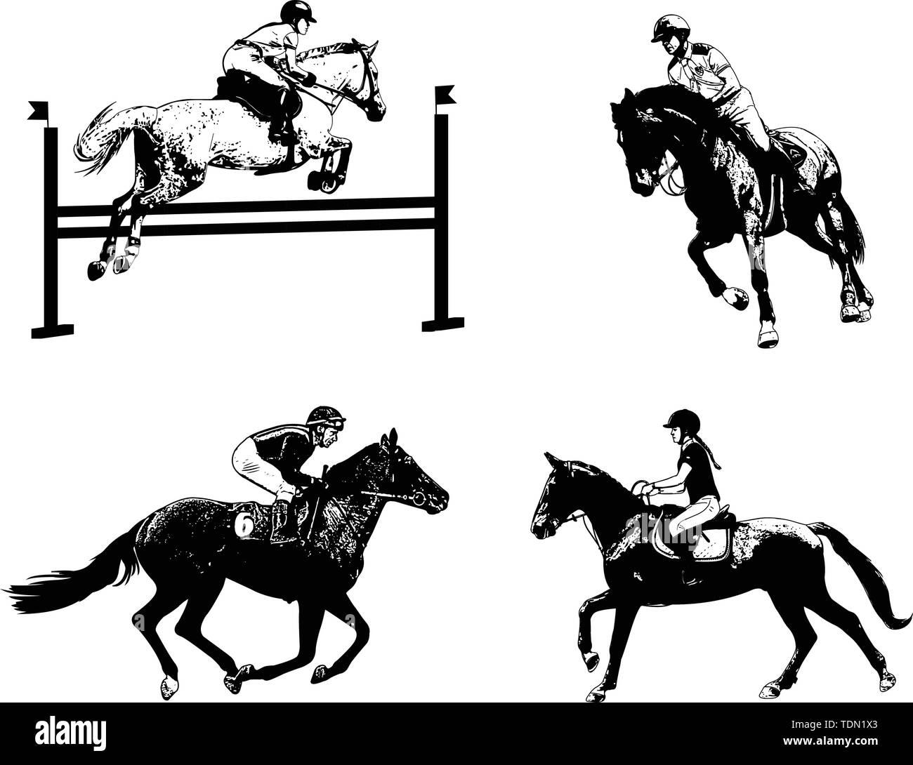 equestrian sports set, sketch illustration - vector - Stock Image