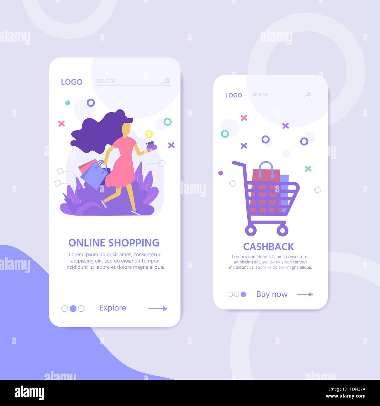 Landing page template for online Shopping with flat people