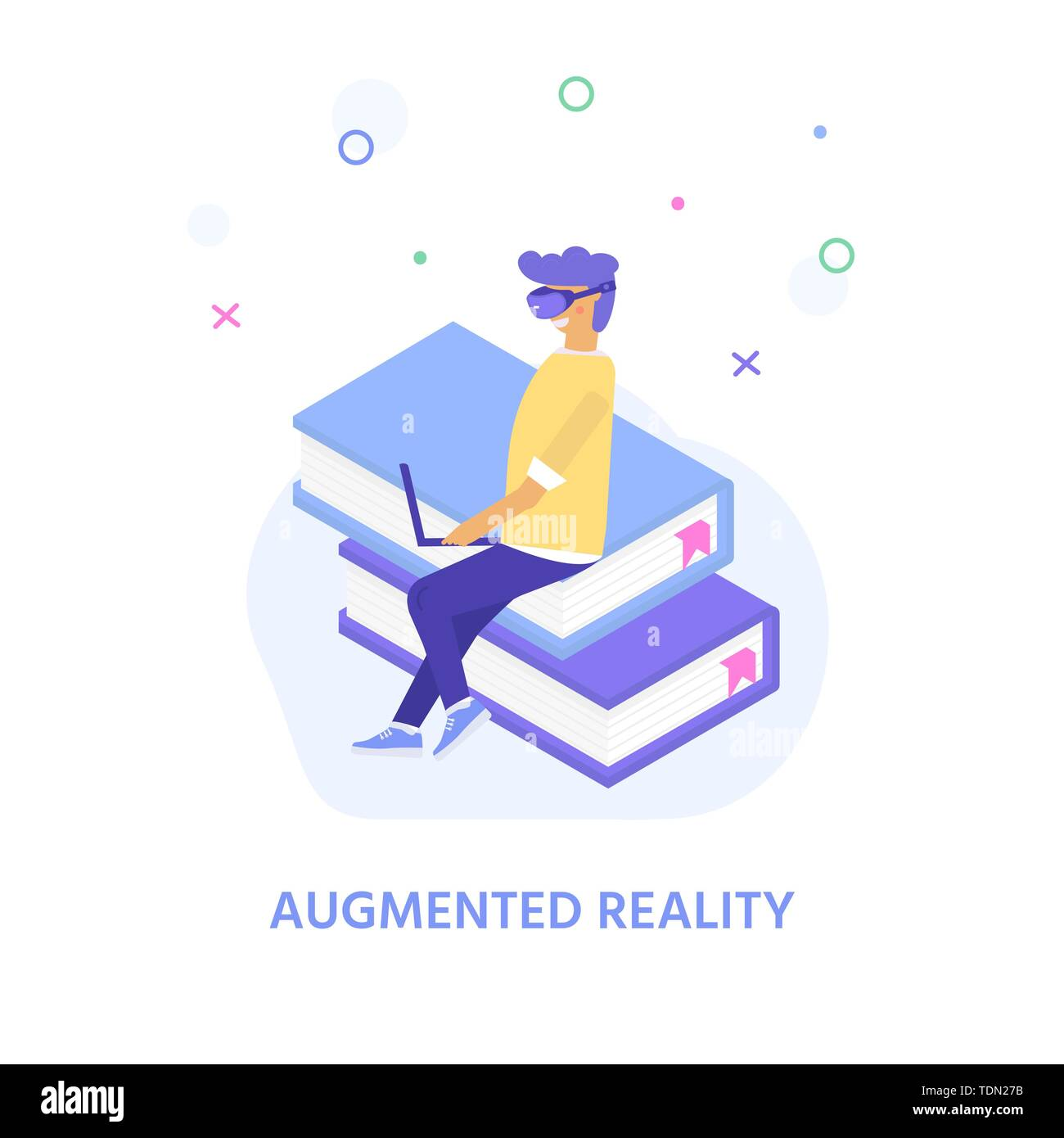 Virtual reality concept for landing page design with character  wearing goggle headset and touching vr interface, learning and interacting with imagin - Stock Image