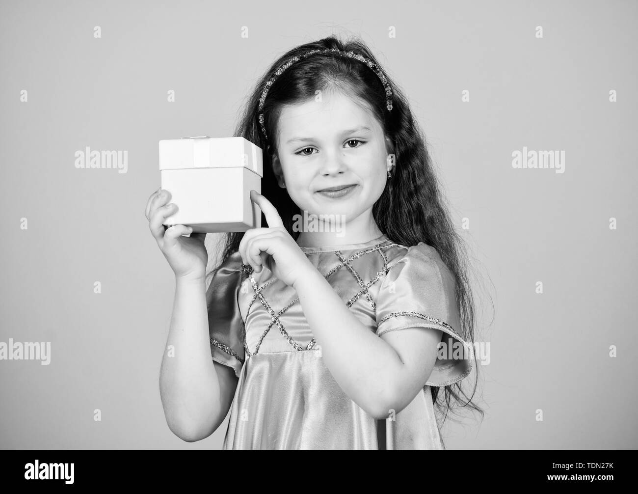 happy birthday holiday. Beauty. black Friday discount. big sale. Small girl fashion. cyber Monday. Present and gift buy. happy shopping girl with box. Shopping happiness. - Stock Image