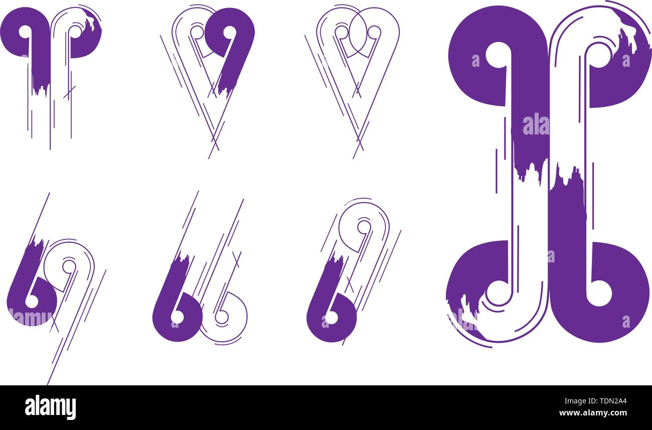 4b4f1b6eacb4 Number And Letter Creative Logotype Concept Collection in Vector. Modern  abstract Design and logo elements in Violet Color.