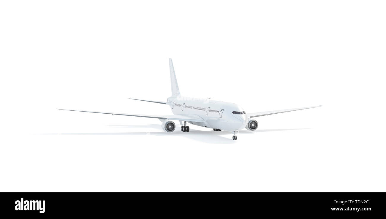Blank white aeroplane mockup stand, front view isolated, 3d rendering. Clear plain air plane transport mock up template, depth of field. Empty avia jet model for design branding. - Stock Image