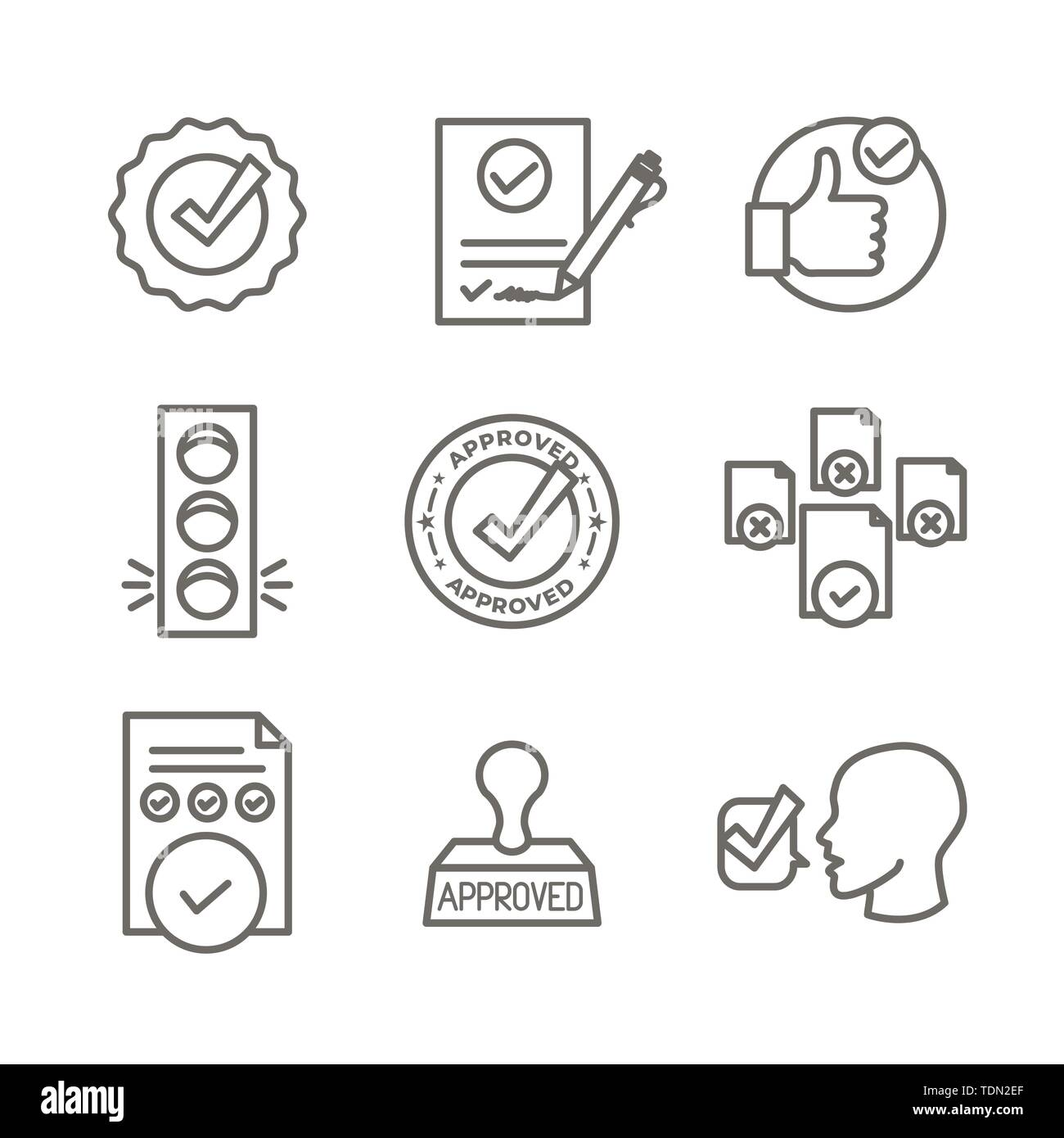 Approval and Signature Icon Set w Stamp and version icons - Stock Image